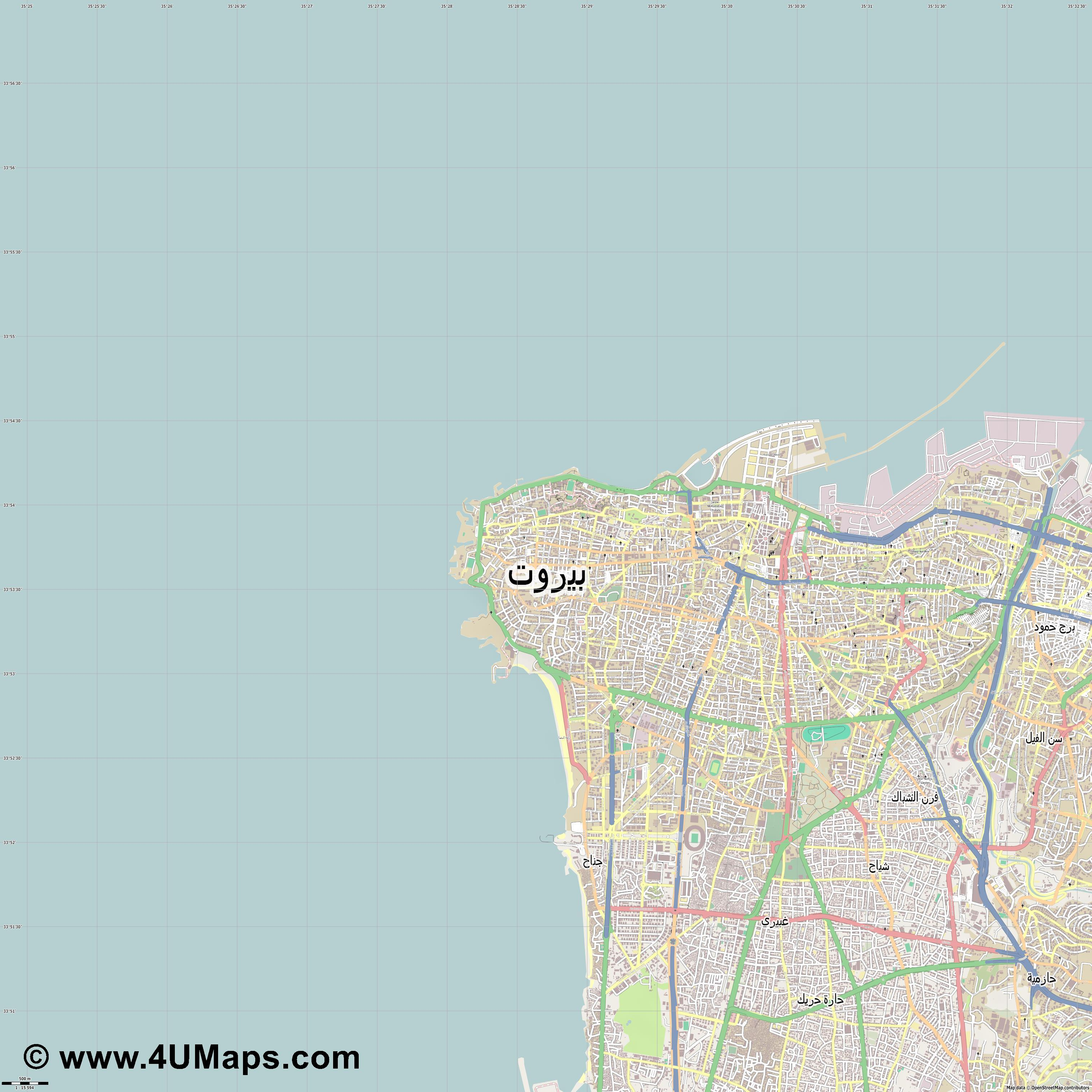 بيروت Beirut Beyrouth  jpg ultra high detail preview vector city map