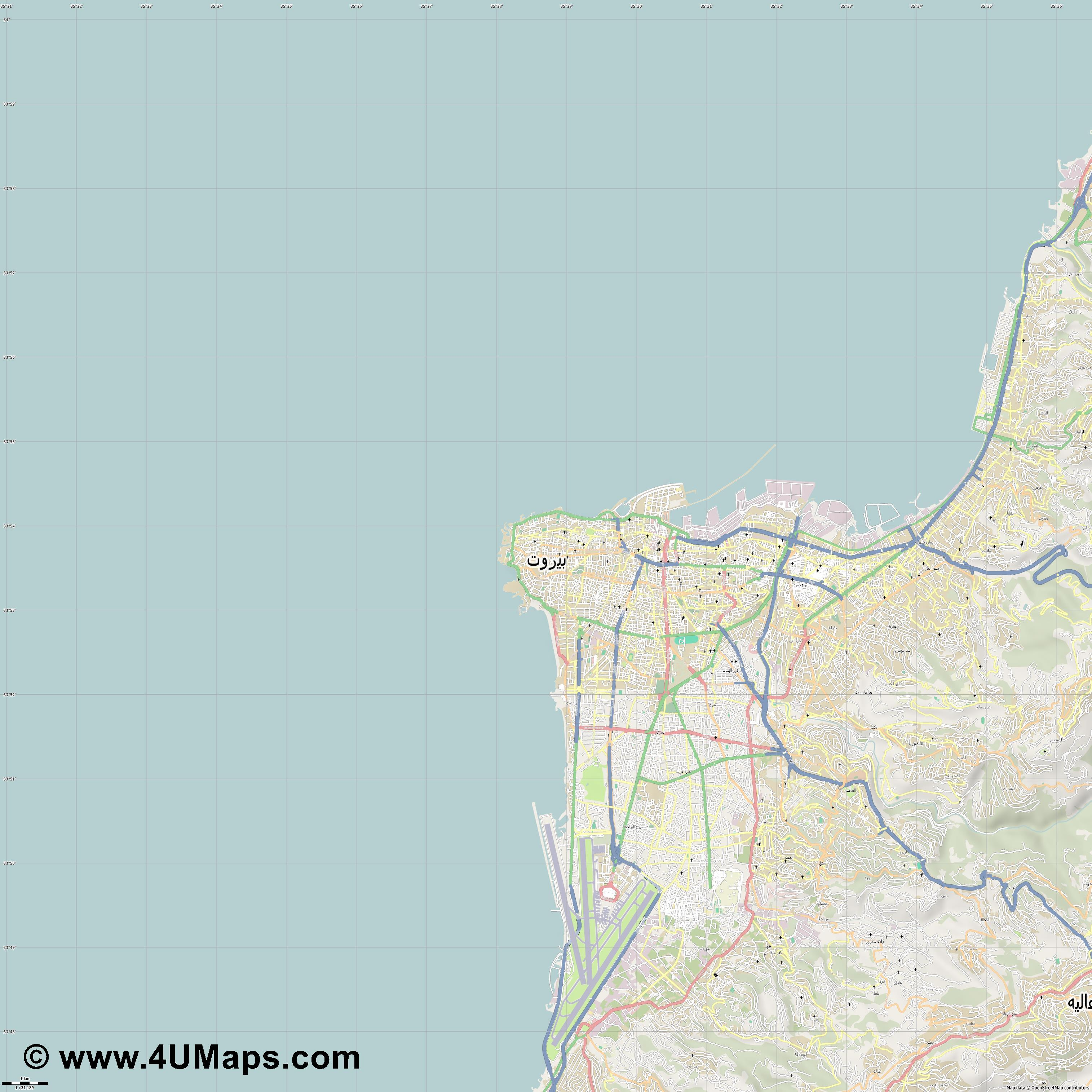 بيروت Beirut Beyrouth  jpg high detail, large area preview vector city map