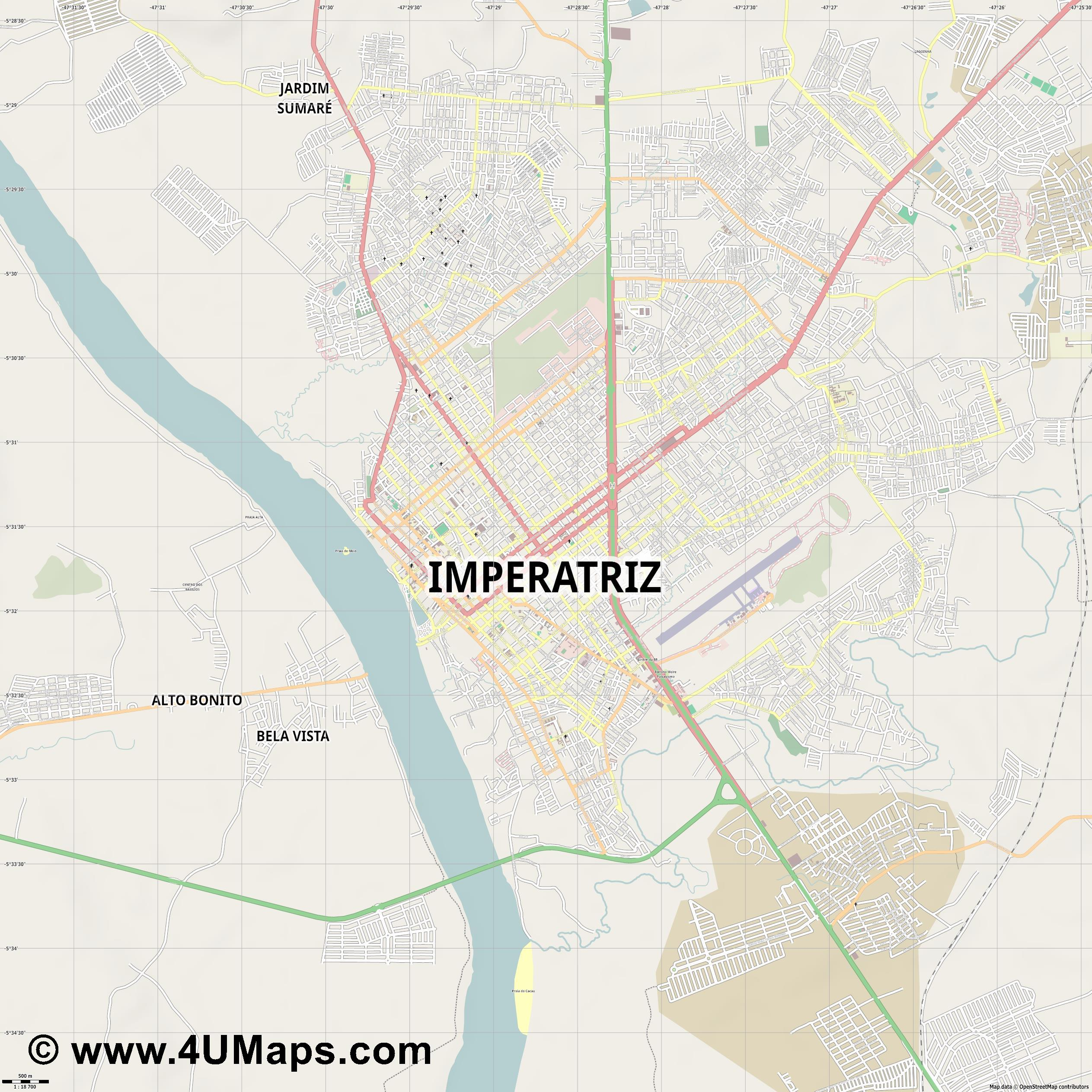 Imperatriz  jpg ultra high detail preview vector city map