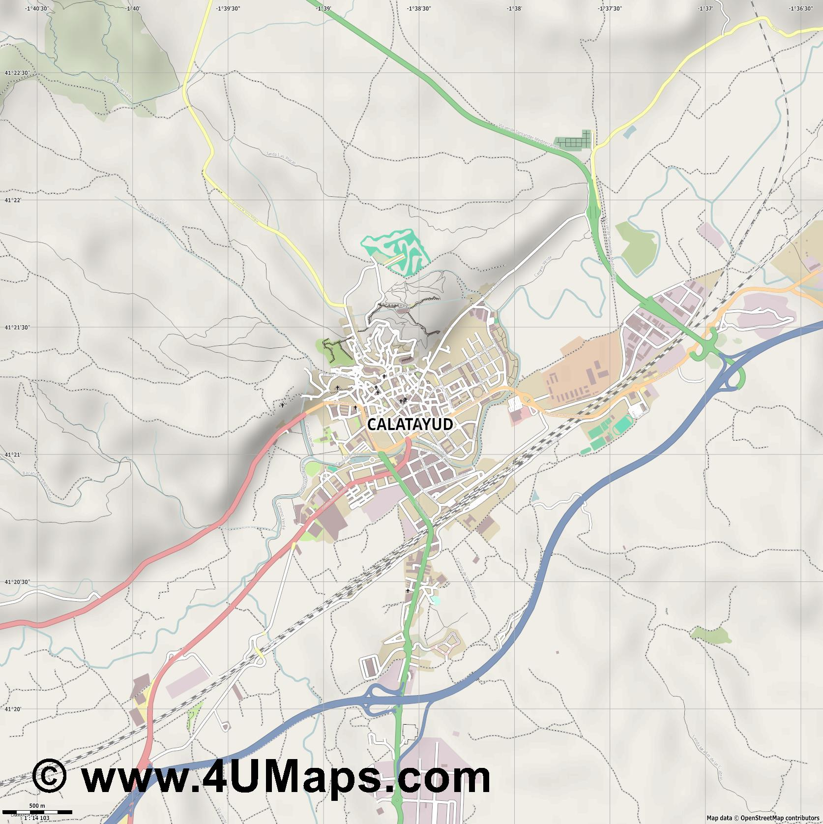 Calatayud  jpg ultra high detail preview vector city map