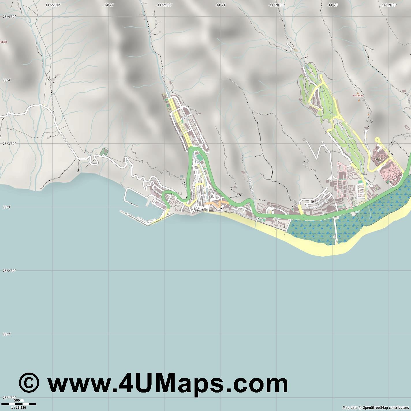 Morro Jable  jpg ultra high detail preview vector city map