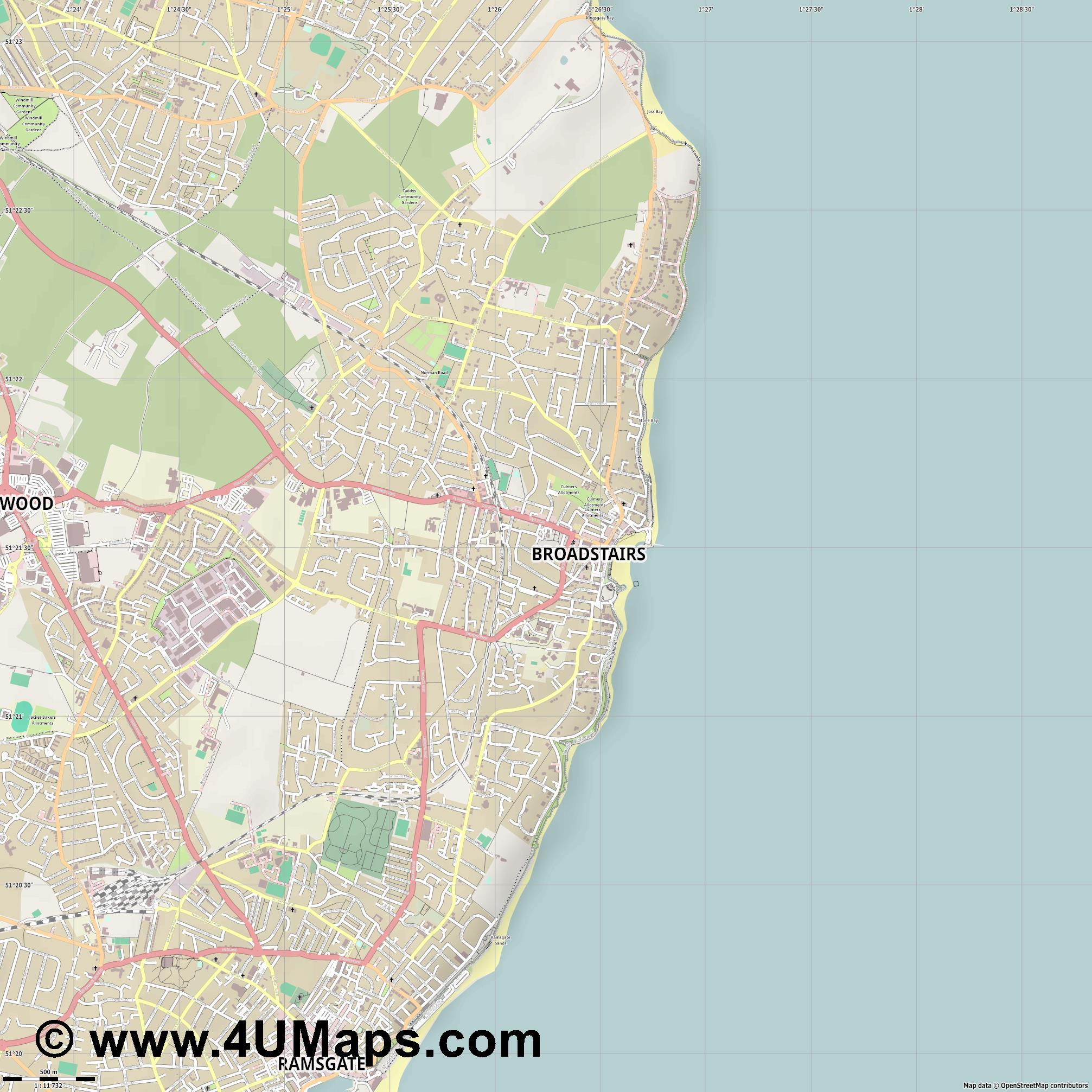 Broadstairs  jpg ultra high detail preview vector city map
