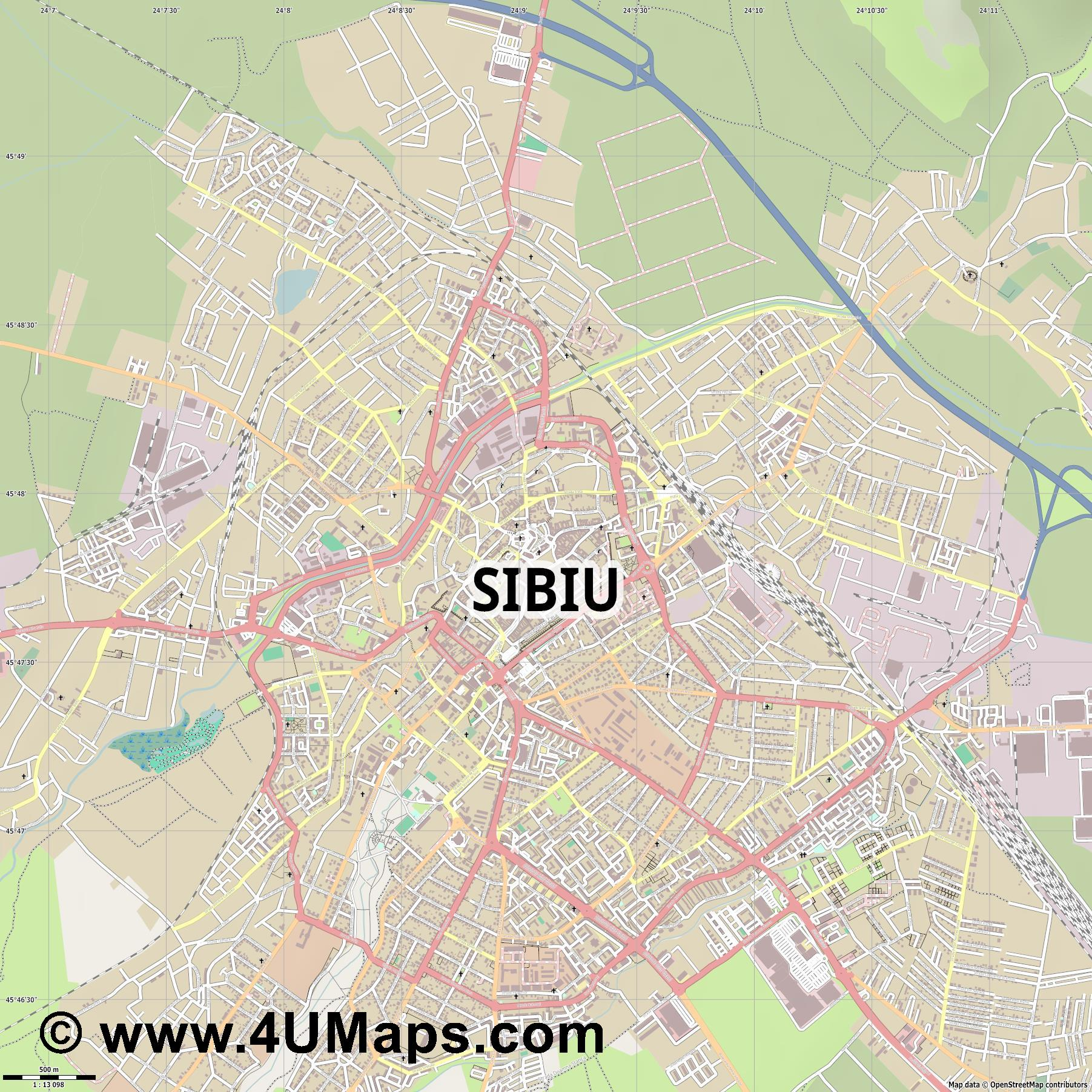 Sibiu Hermannstadt  jpg ultra high detail preview vector city map