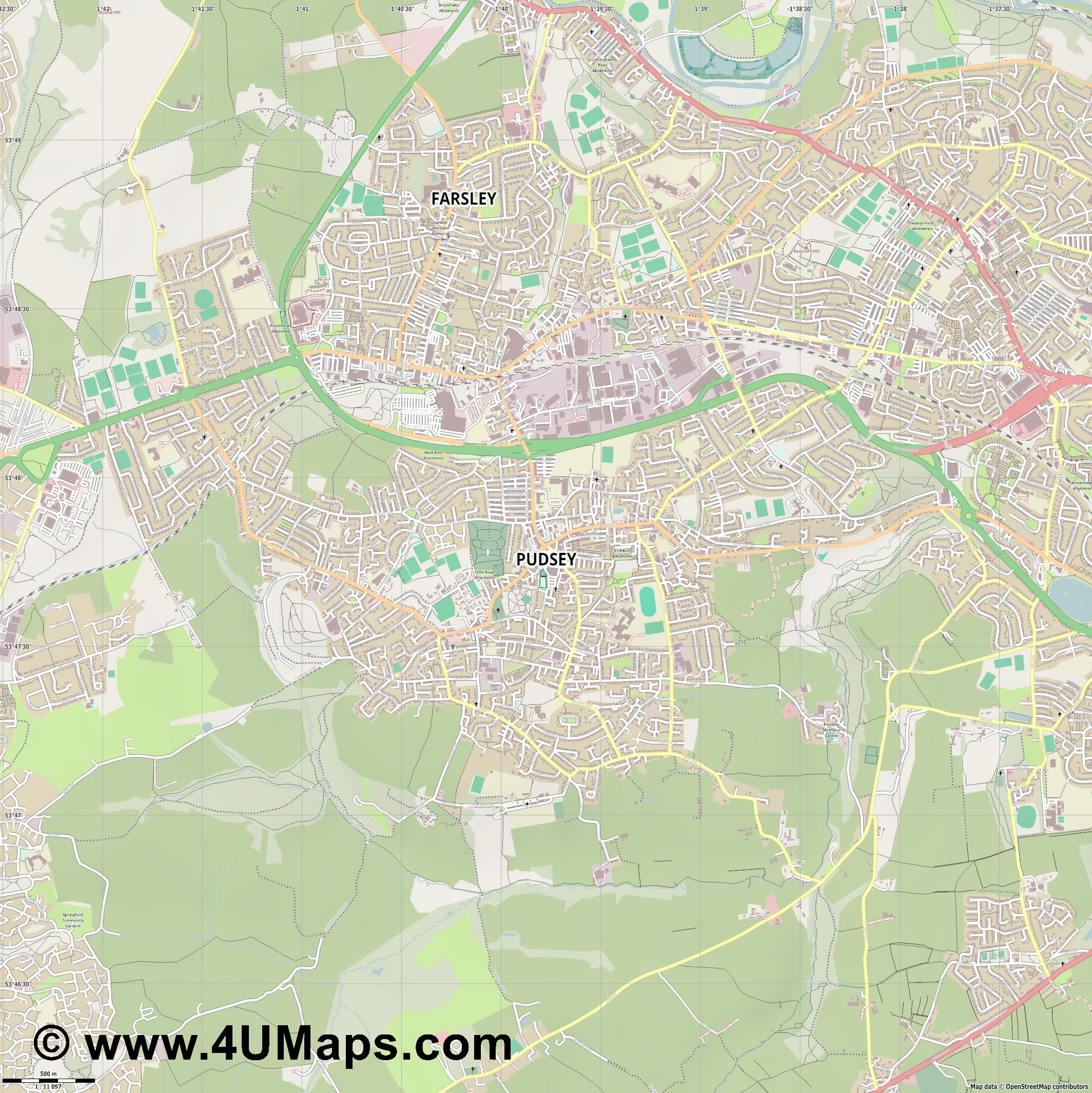 Pudsey  jpg ultra high detail preview vector city map