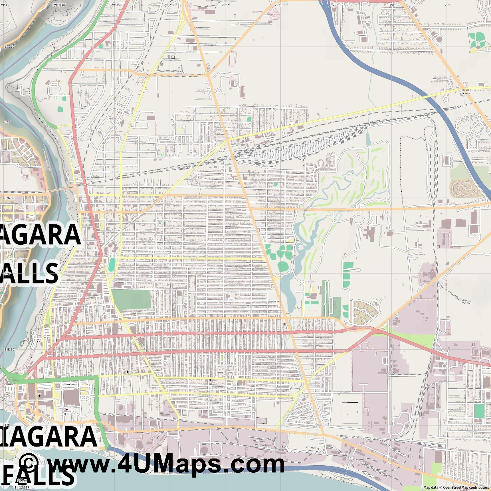 Niagara Falls  NY  jpg ultra high detail preview vector city map