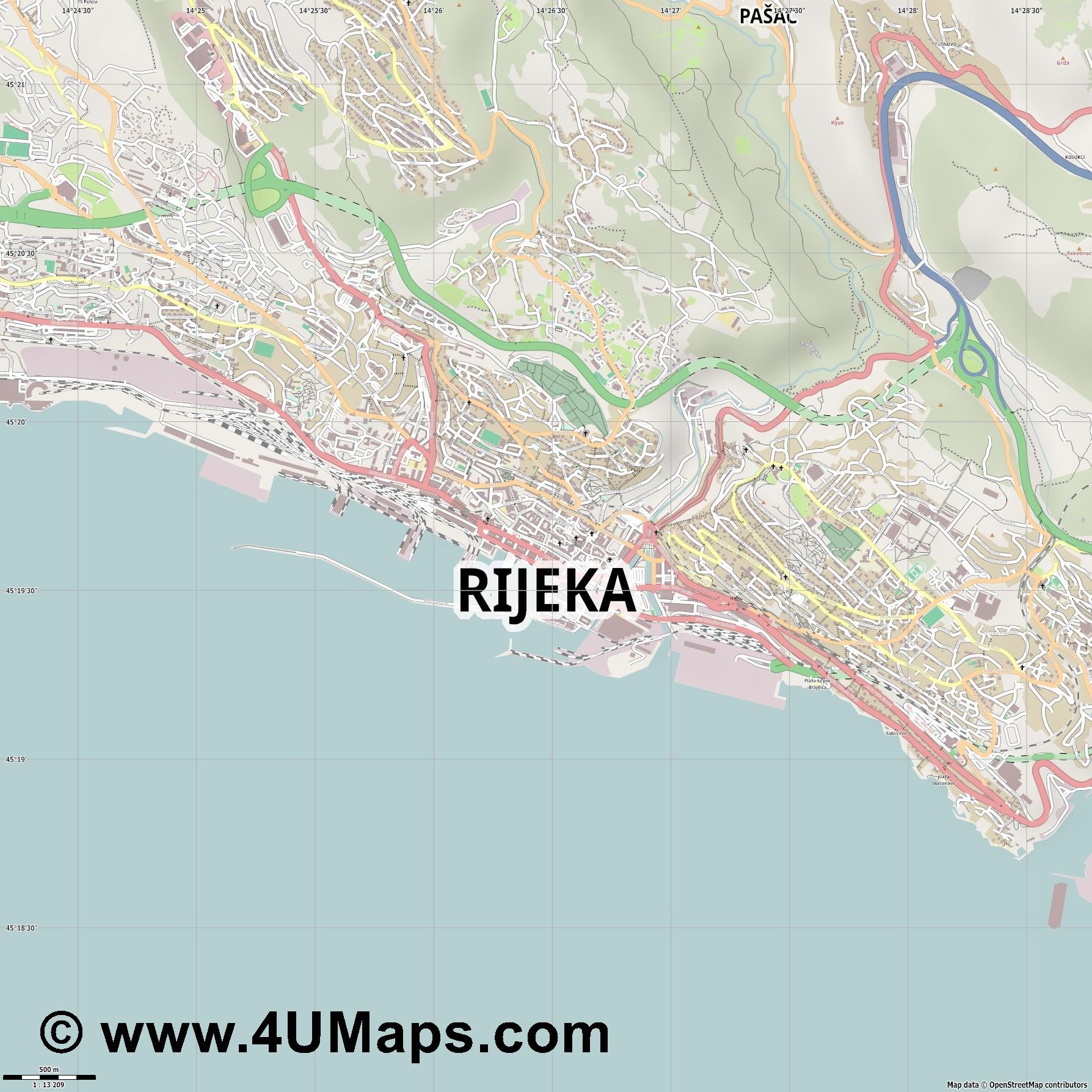 Rijeka Fiume  jpg ultra high detail preview vector city map