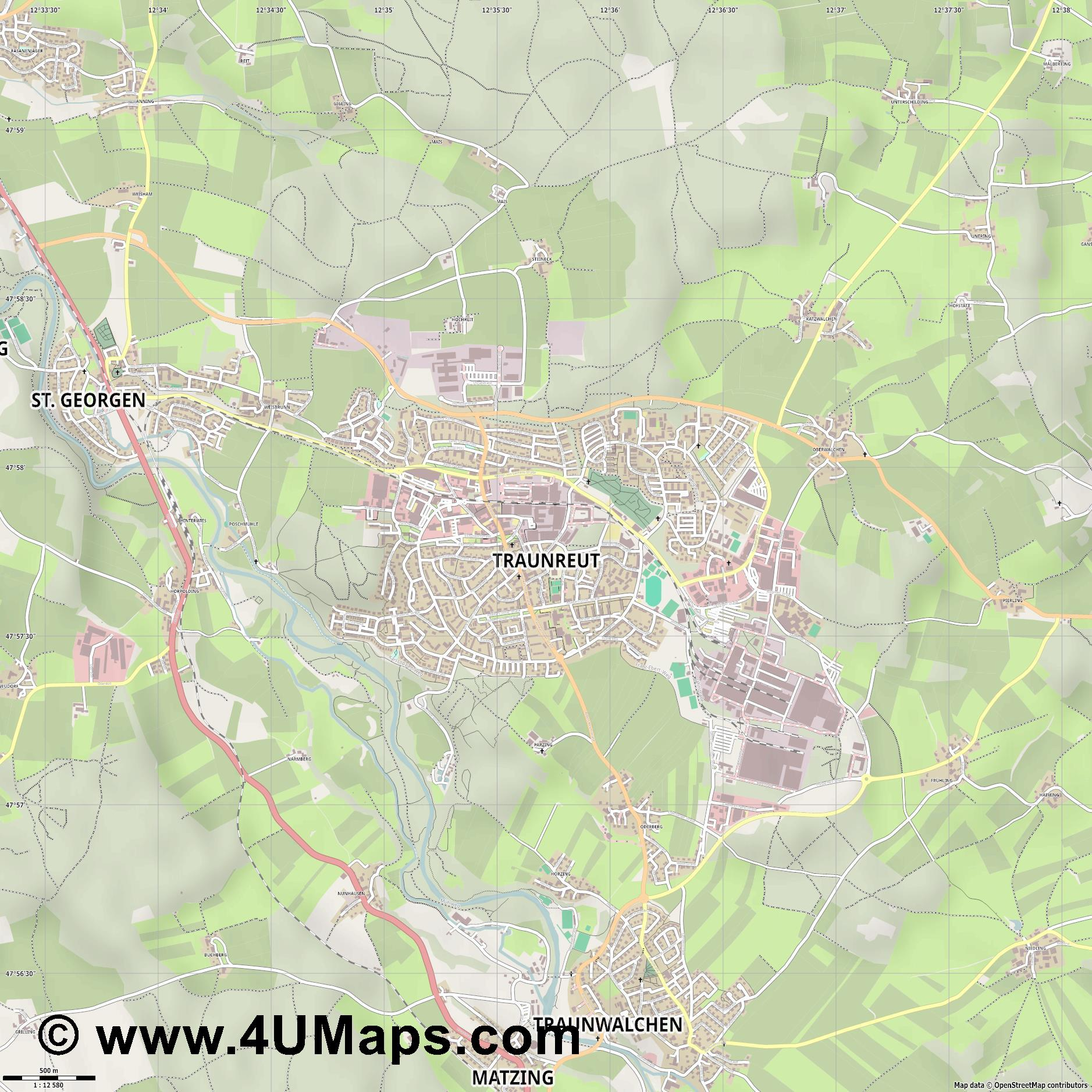 Pdf svg scalable vector city map traunreut traunreut jpg ultra high detail preview vector city map gumiabroncs Image collections