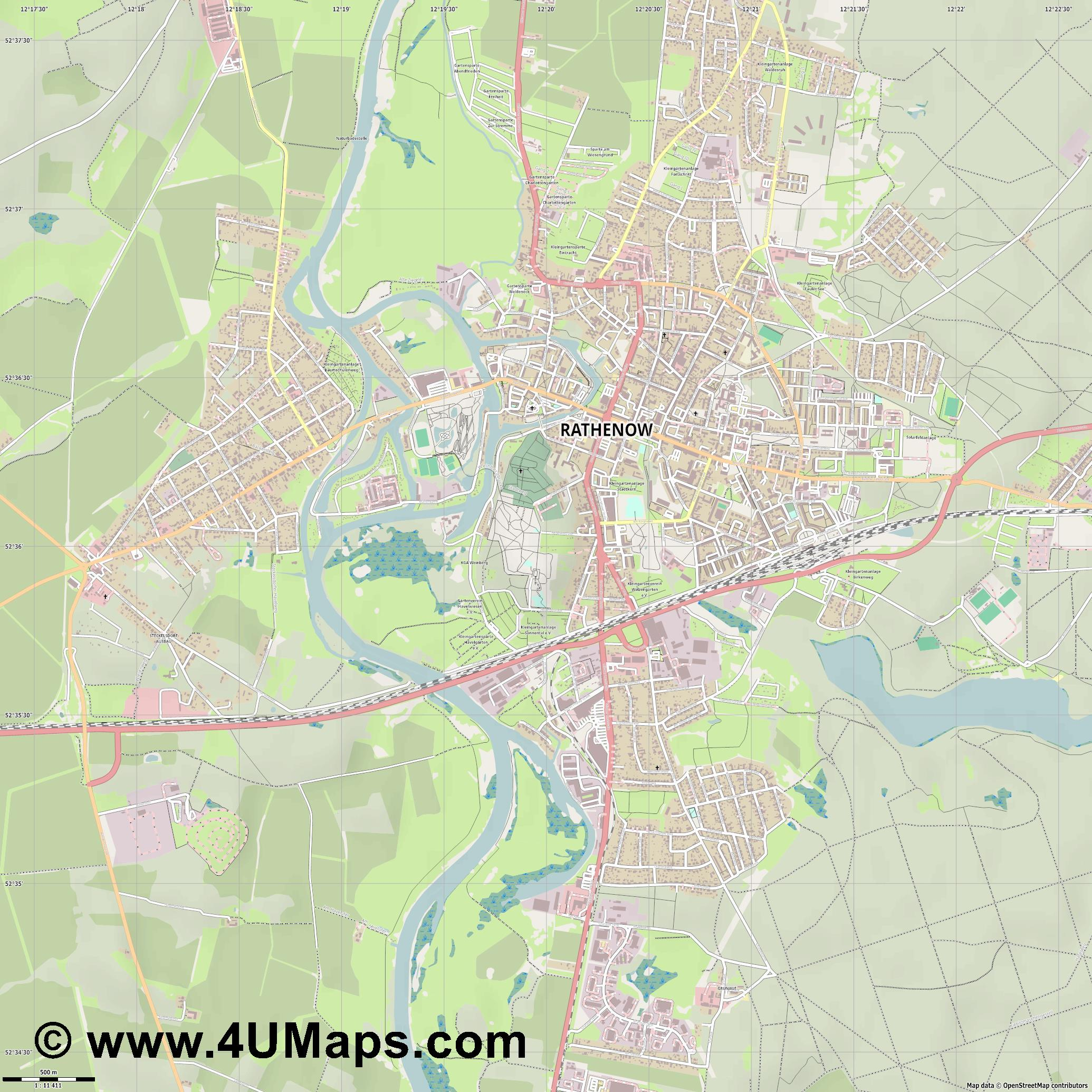 Rathenow  jpg ultra high detail preview vector city map