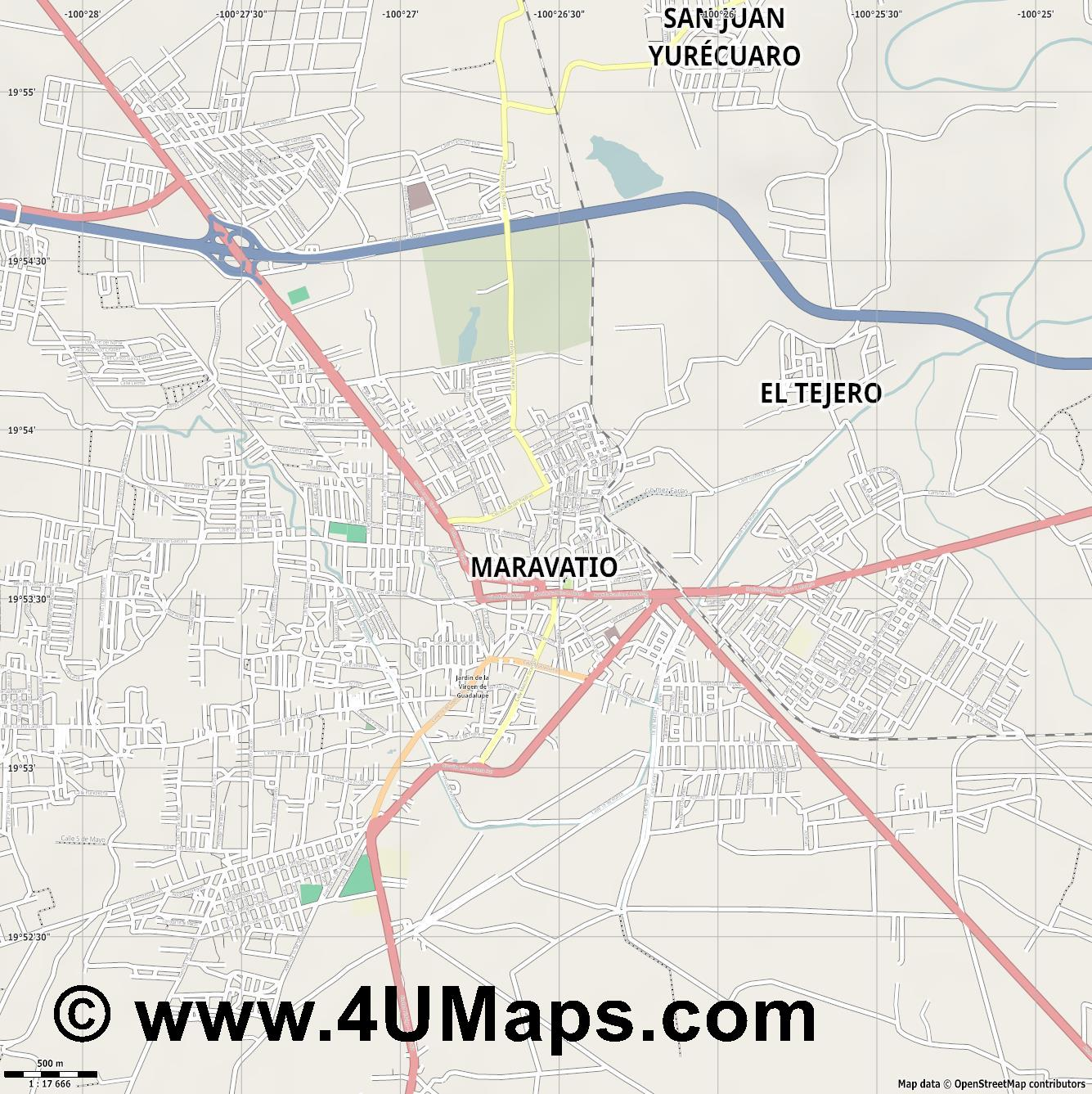 Maravatio  jpg ultra high detail preview vector city map