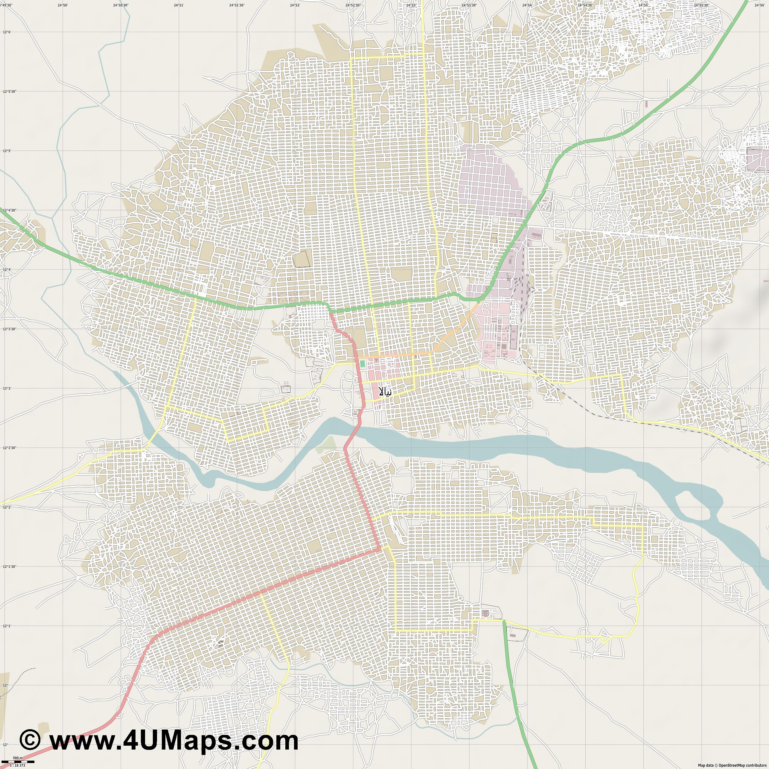 Nyala نيالا  jpg ultra high detail preview vector city map