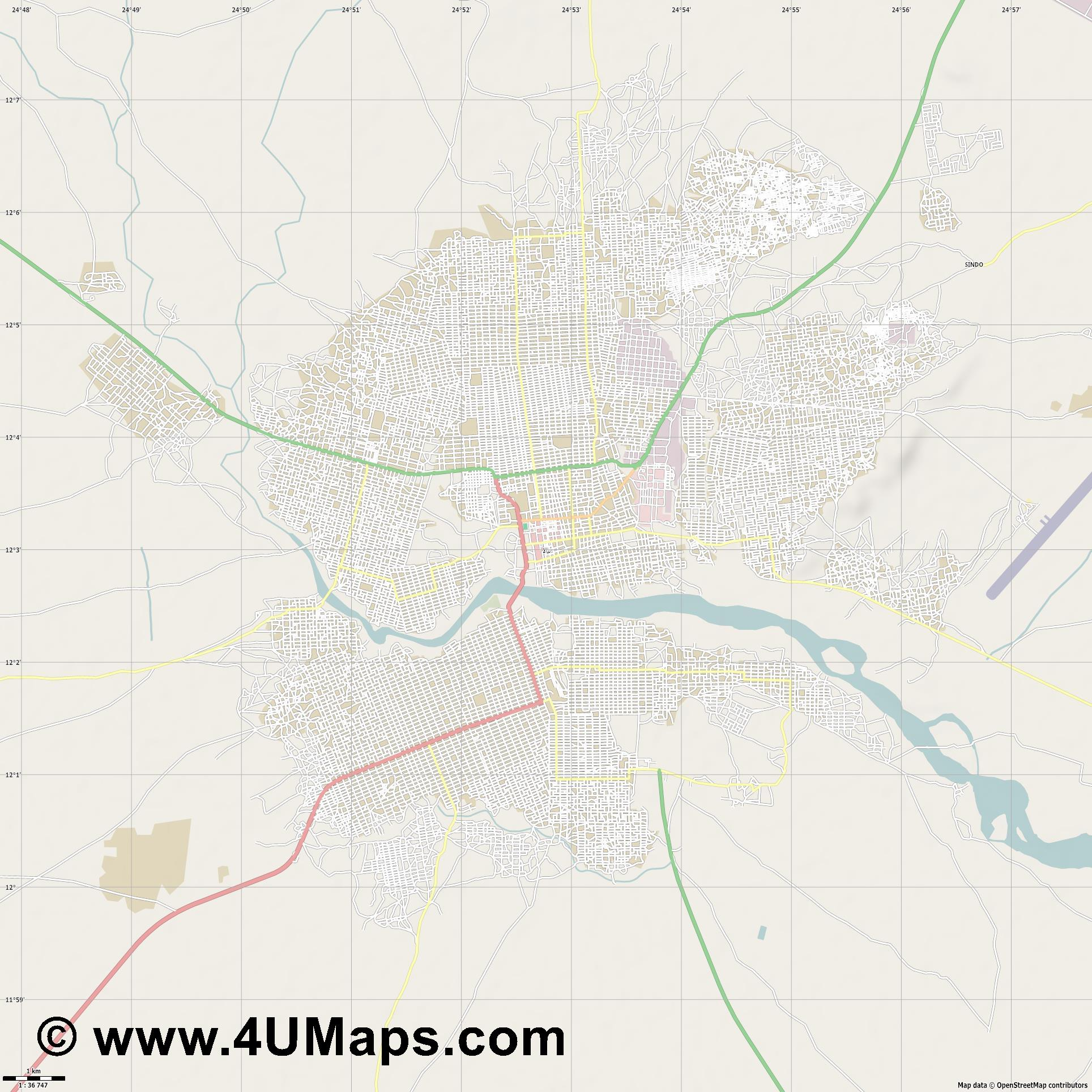 Nyala نيالا  jpg high detail, large area preview vector city map