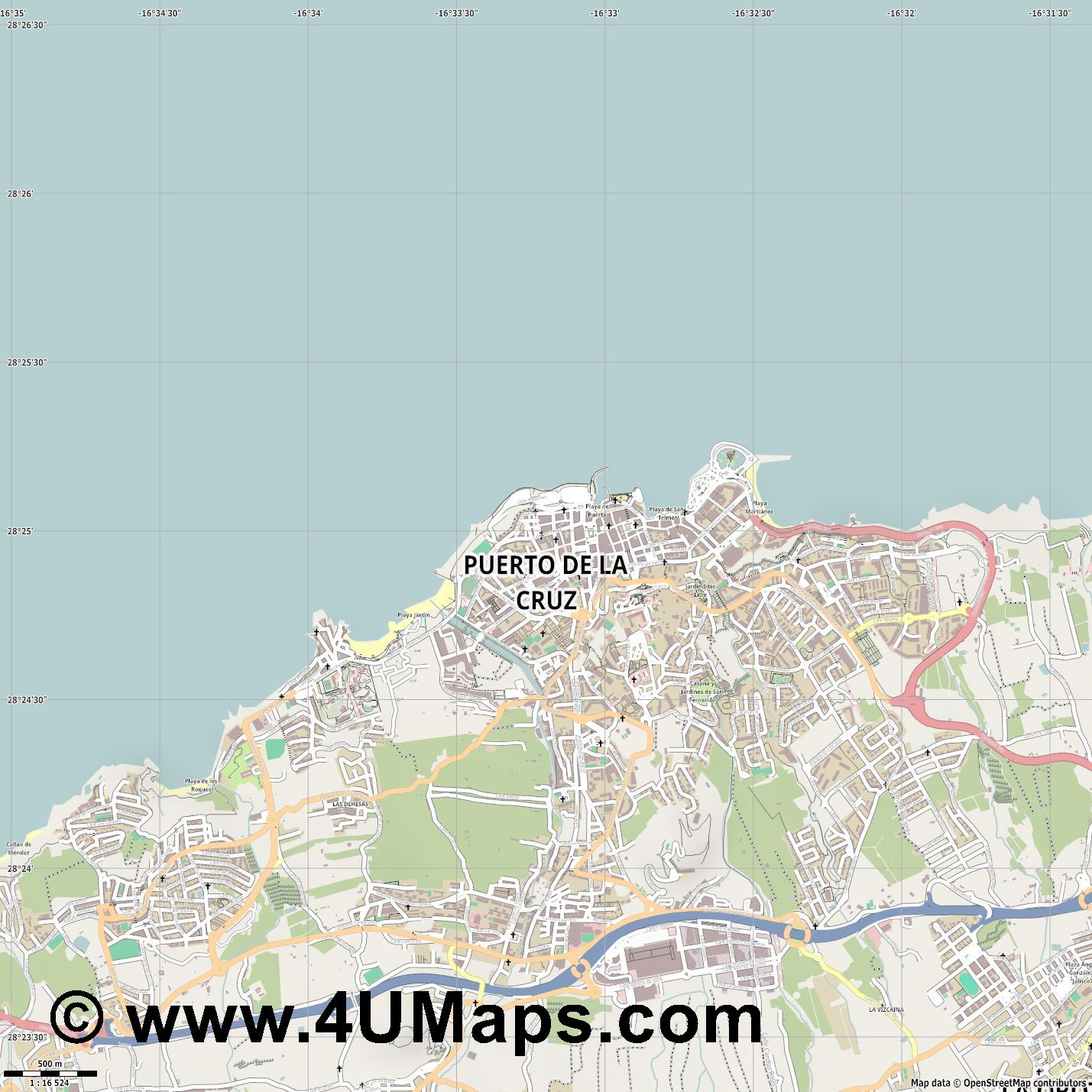 Puerto de la Cruz  jpg ultra high detail preview vector city map