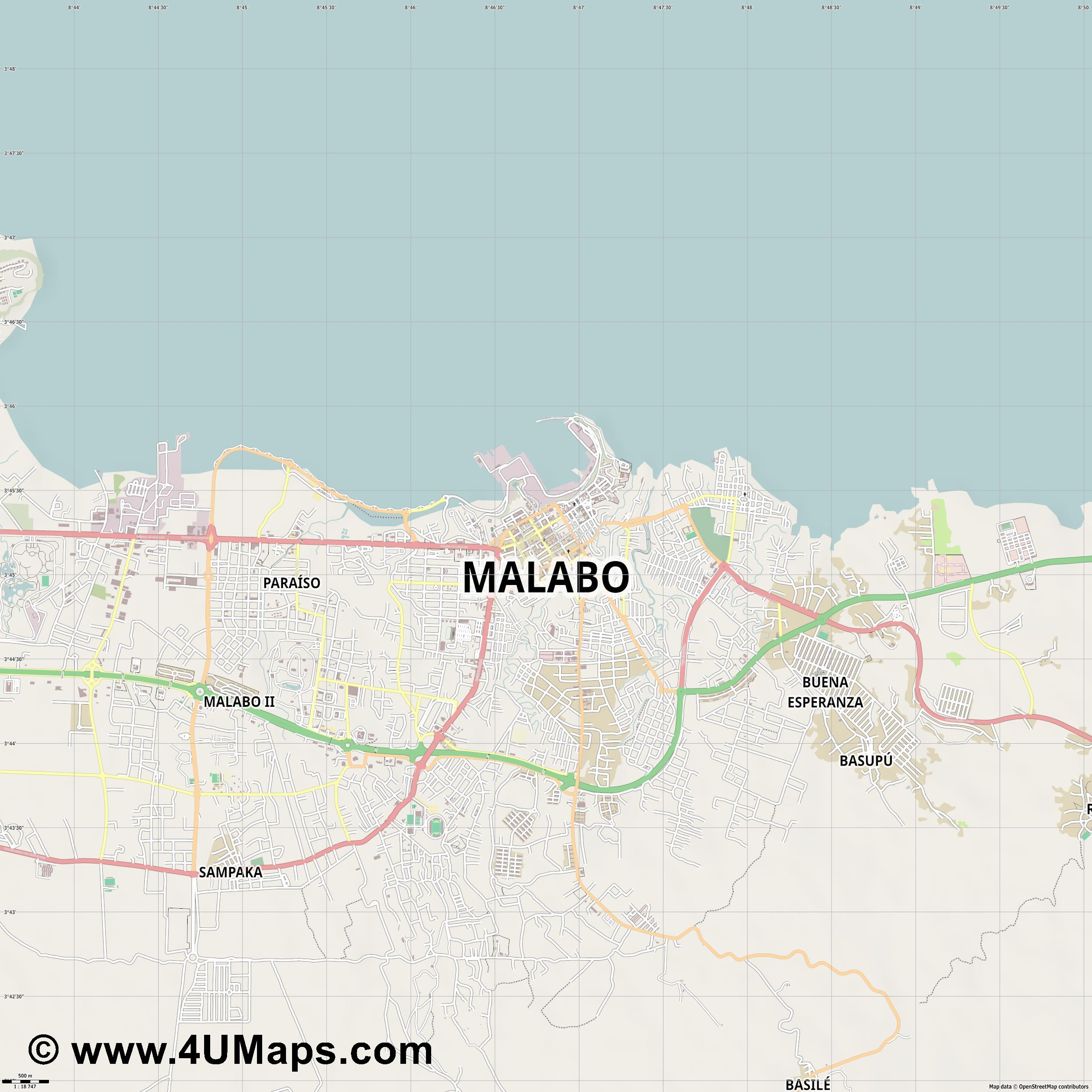 Malabo  jpg ultra high detail preview vector city map