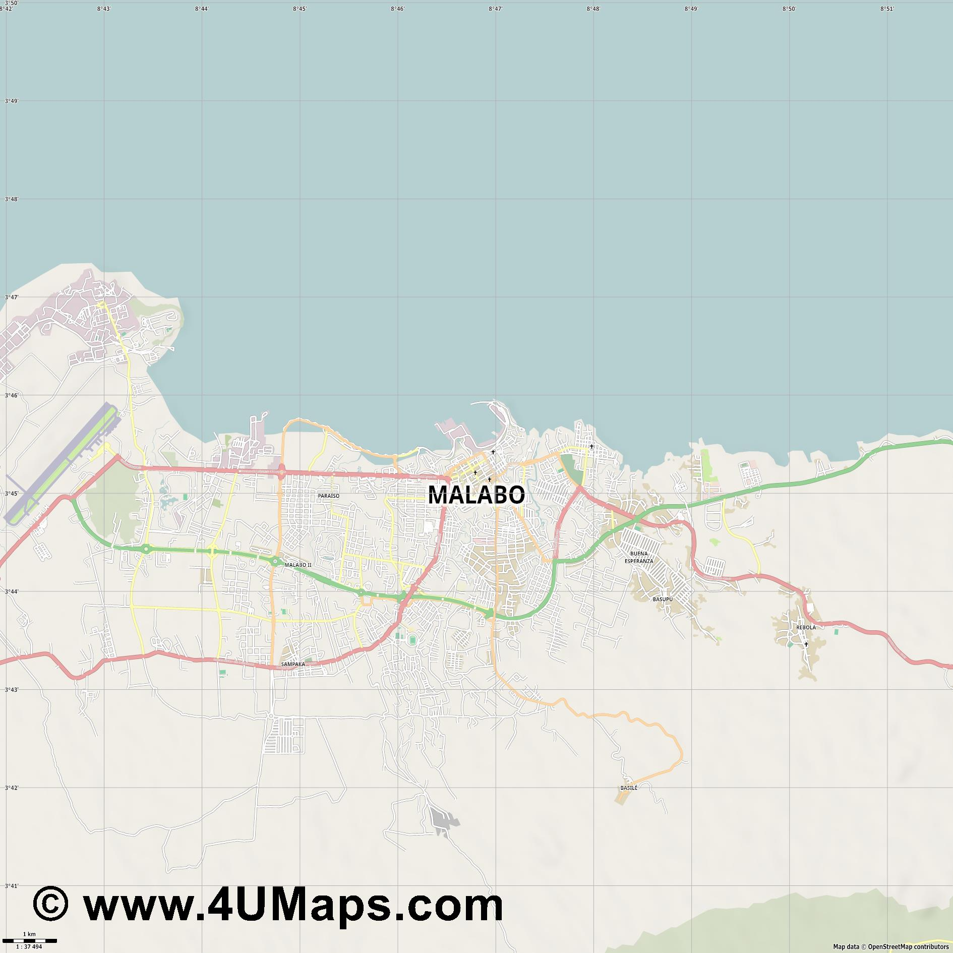 Malabo  jpg high detail, large area preview vector city map
