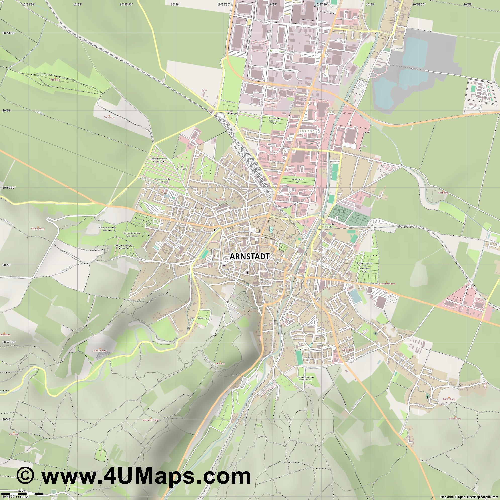 Arnstadt  jpg ultra high detail preview vector city map