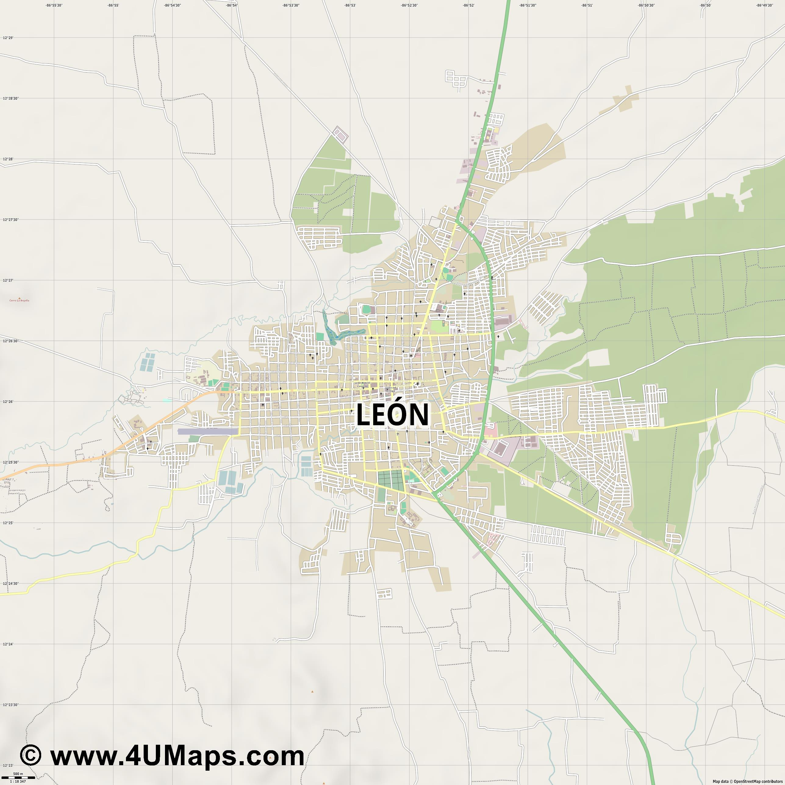 León  jpg ultra high detail preview vector city map