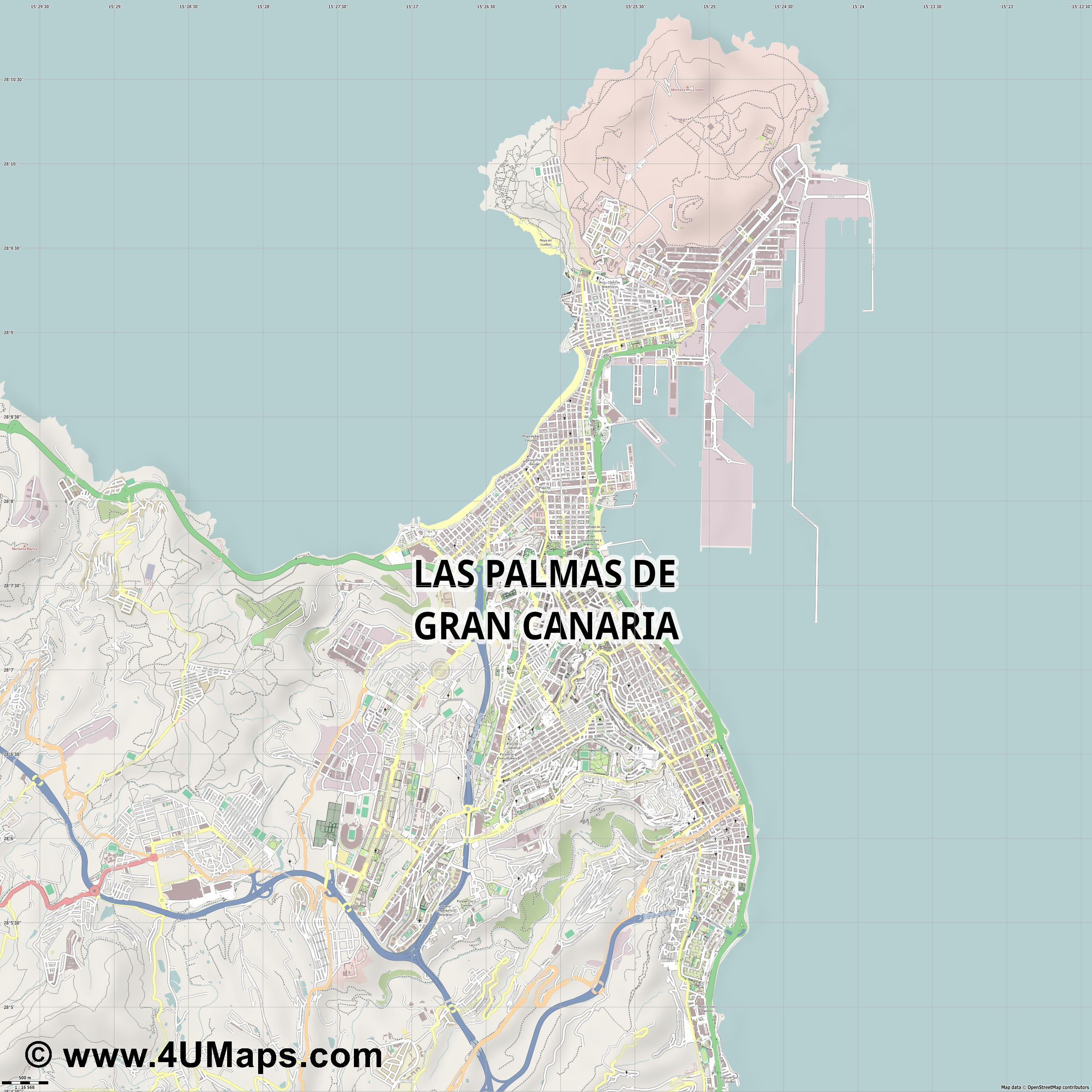 Las Palmas de Gran Canaria  jpg ultra high detail preview vector city map