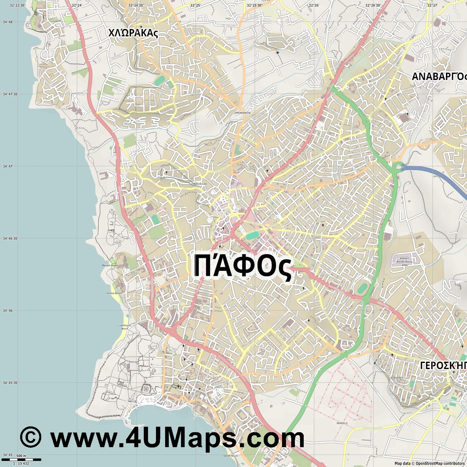 Paphos  jpg ultra high detail preview vector city map