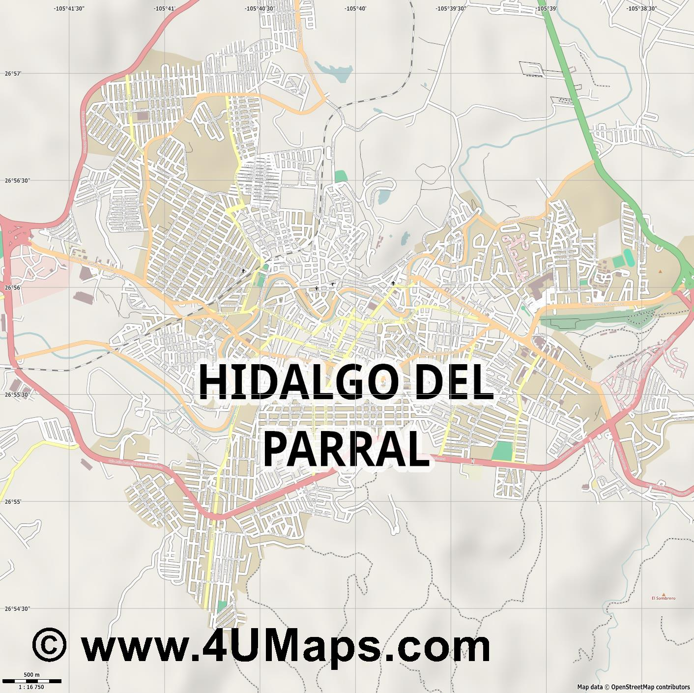 Hidalgo del Parral  jpg ultra high detail preview vector city map