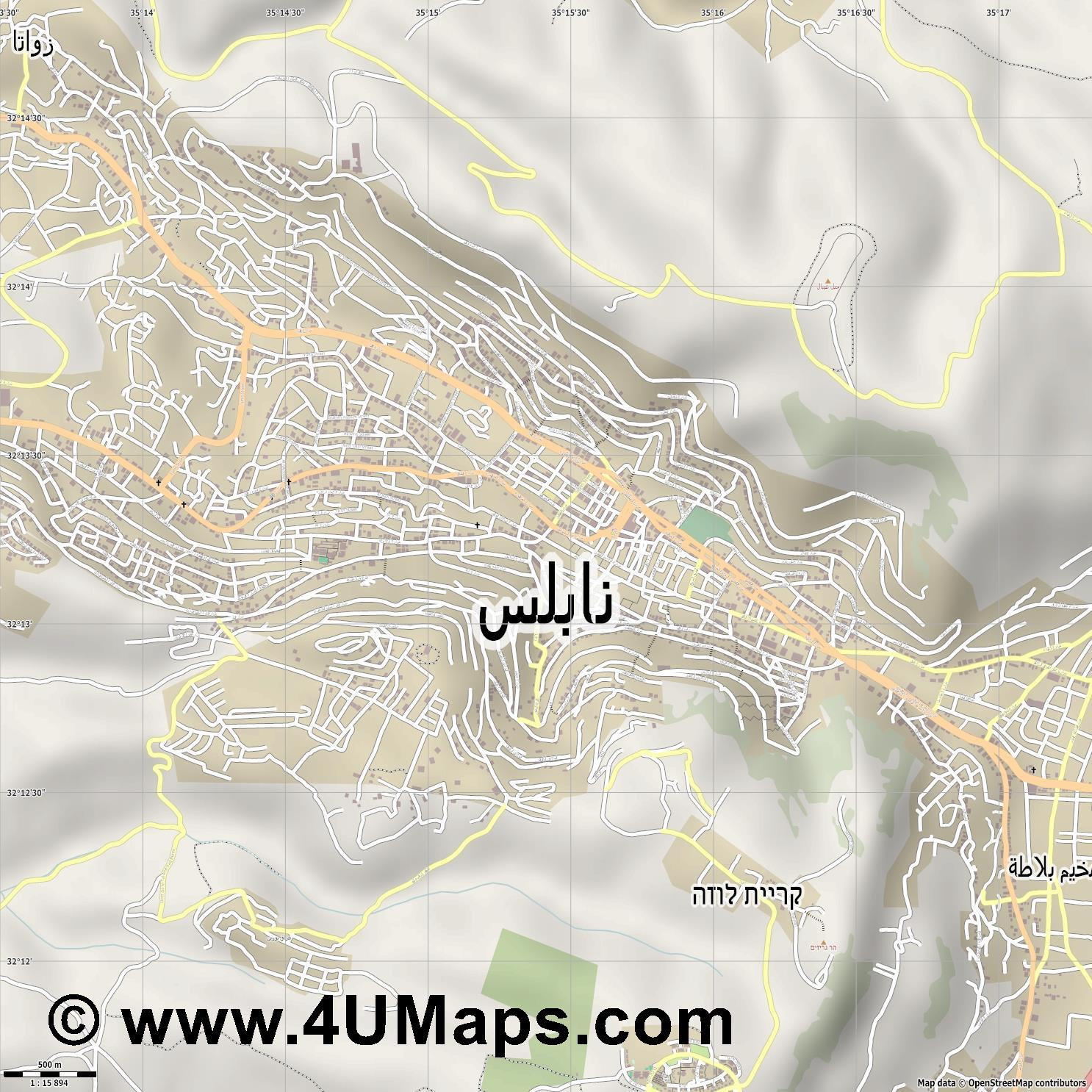 نابلس Nablus Naplouse  jpg ultra high detail preview vector city map