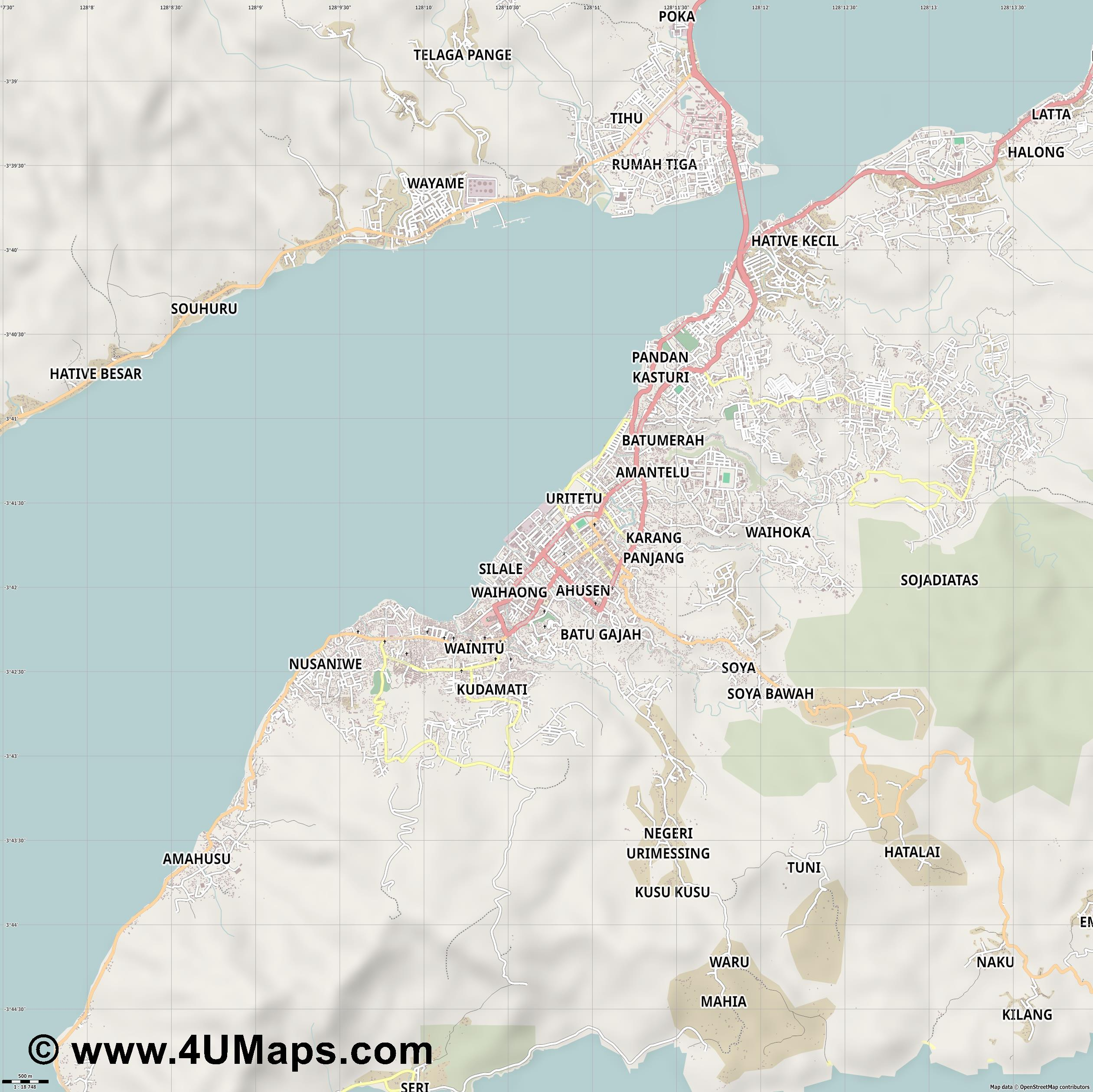 Ambon  jpg ultra high detail preview vector city map
