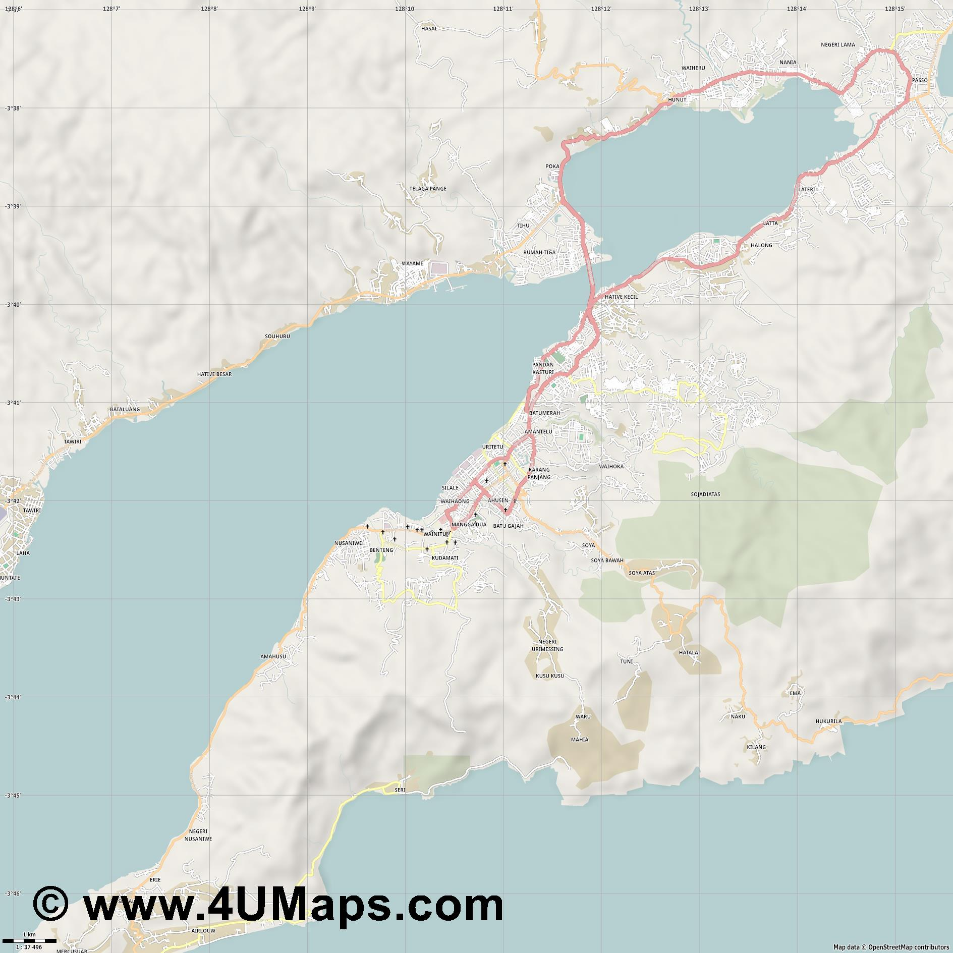 Ambon  jpg high detail, large area preview vector city map