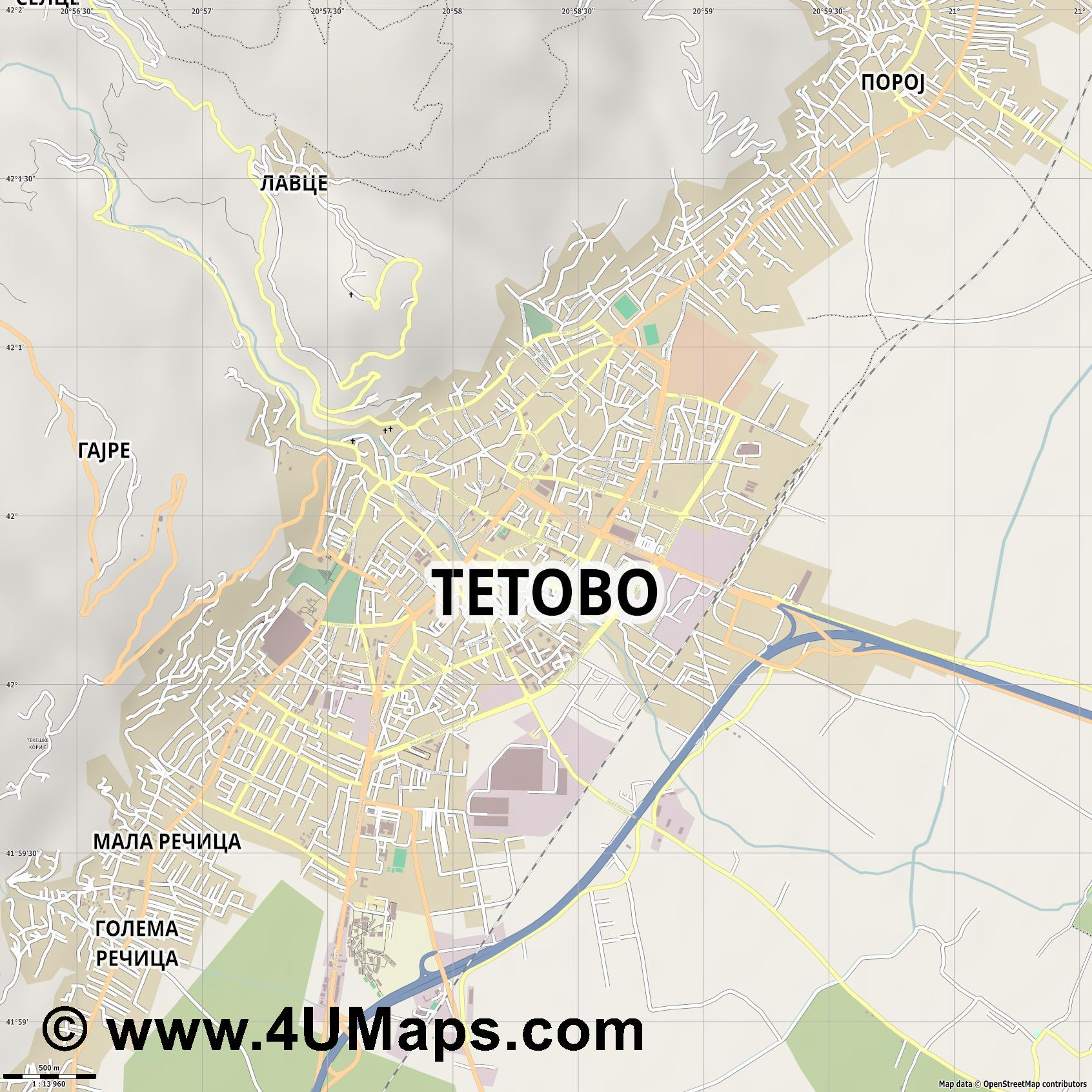 Тетово Tetovo  jpg ultra high detail preview vector city map