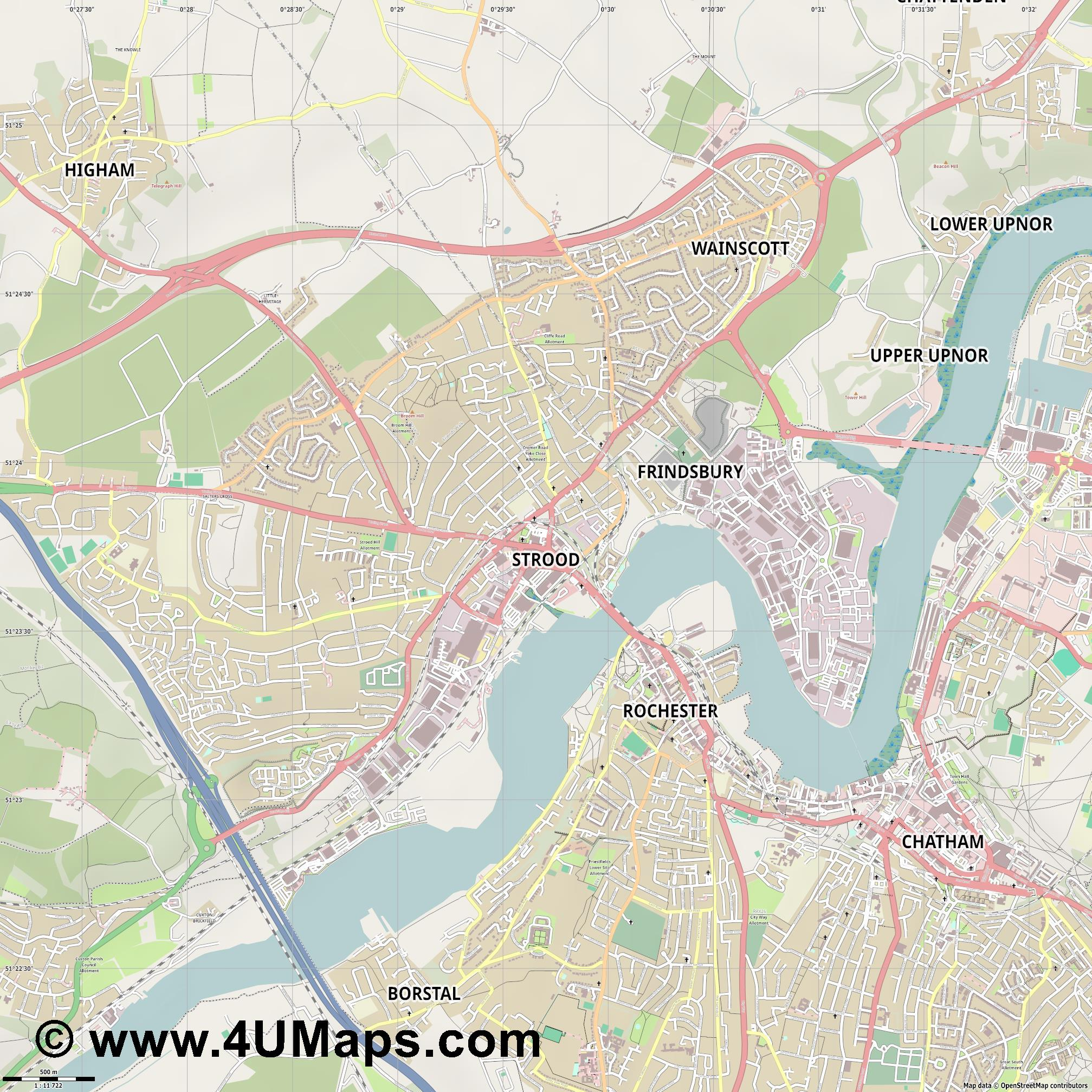 Strood  jpg ultra high detail preview vector city map