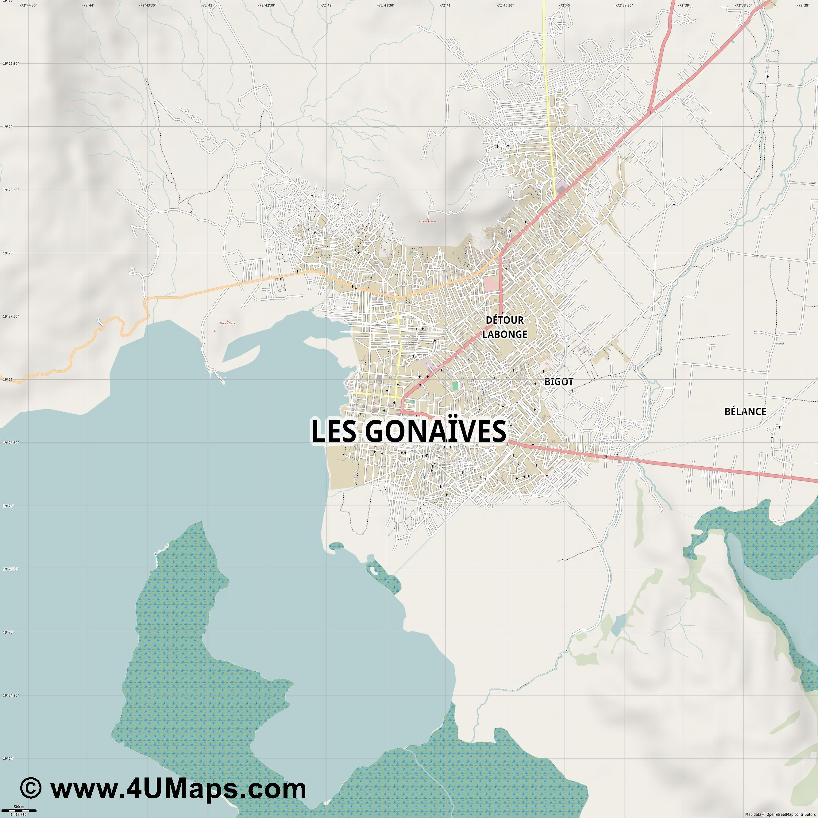 Les Gonaïves  jpg ultra high detail preview vector city map