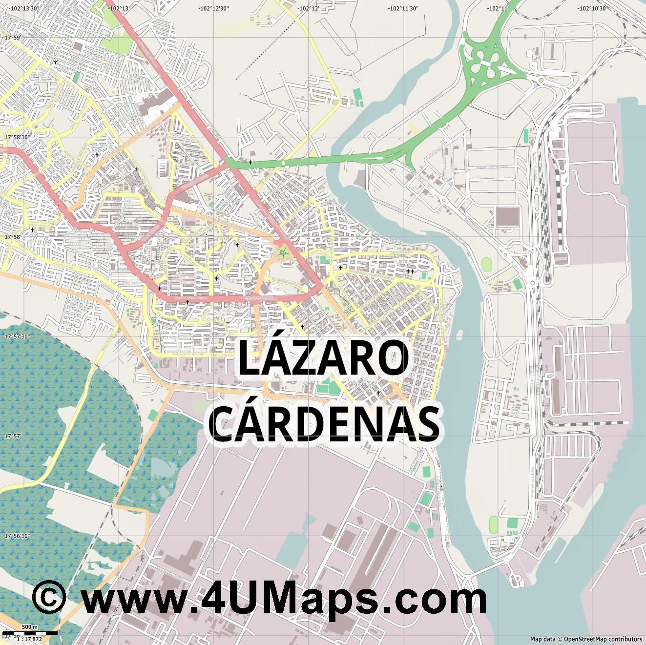 Lázaro Cárdenas  jpg ultra high detail preview vector city map