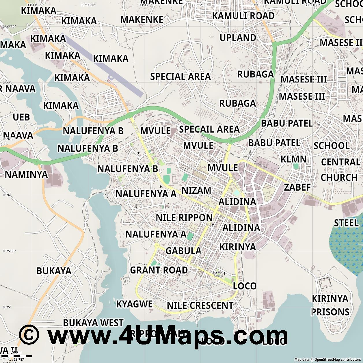 Jinja  jpg ultra high detail preview vector city map