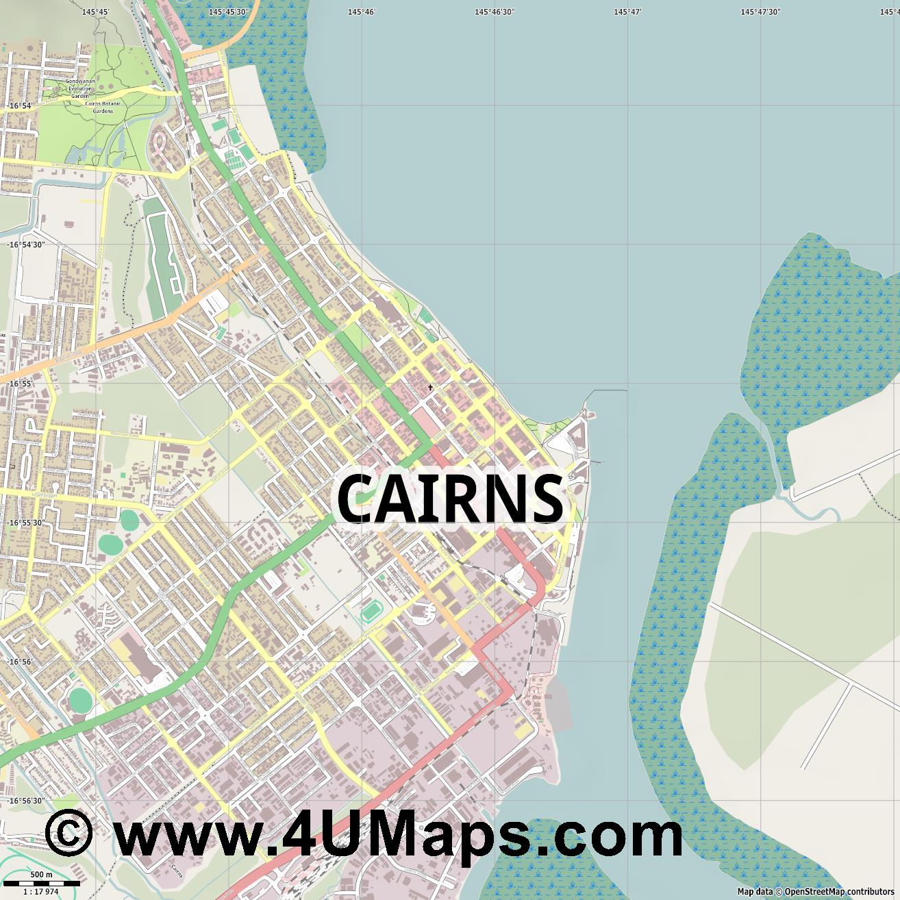 Cairns  jpg ultra high detail preview vector city map