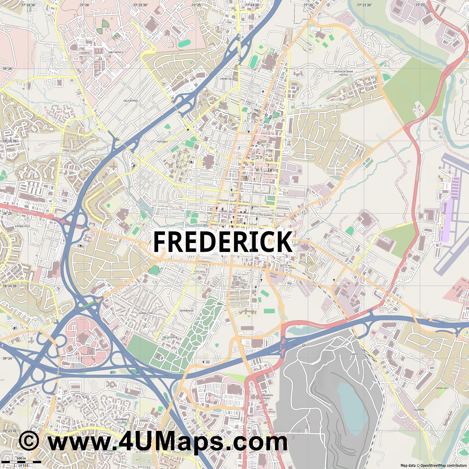 Frederick  jpg ultra high detail preview vector city map