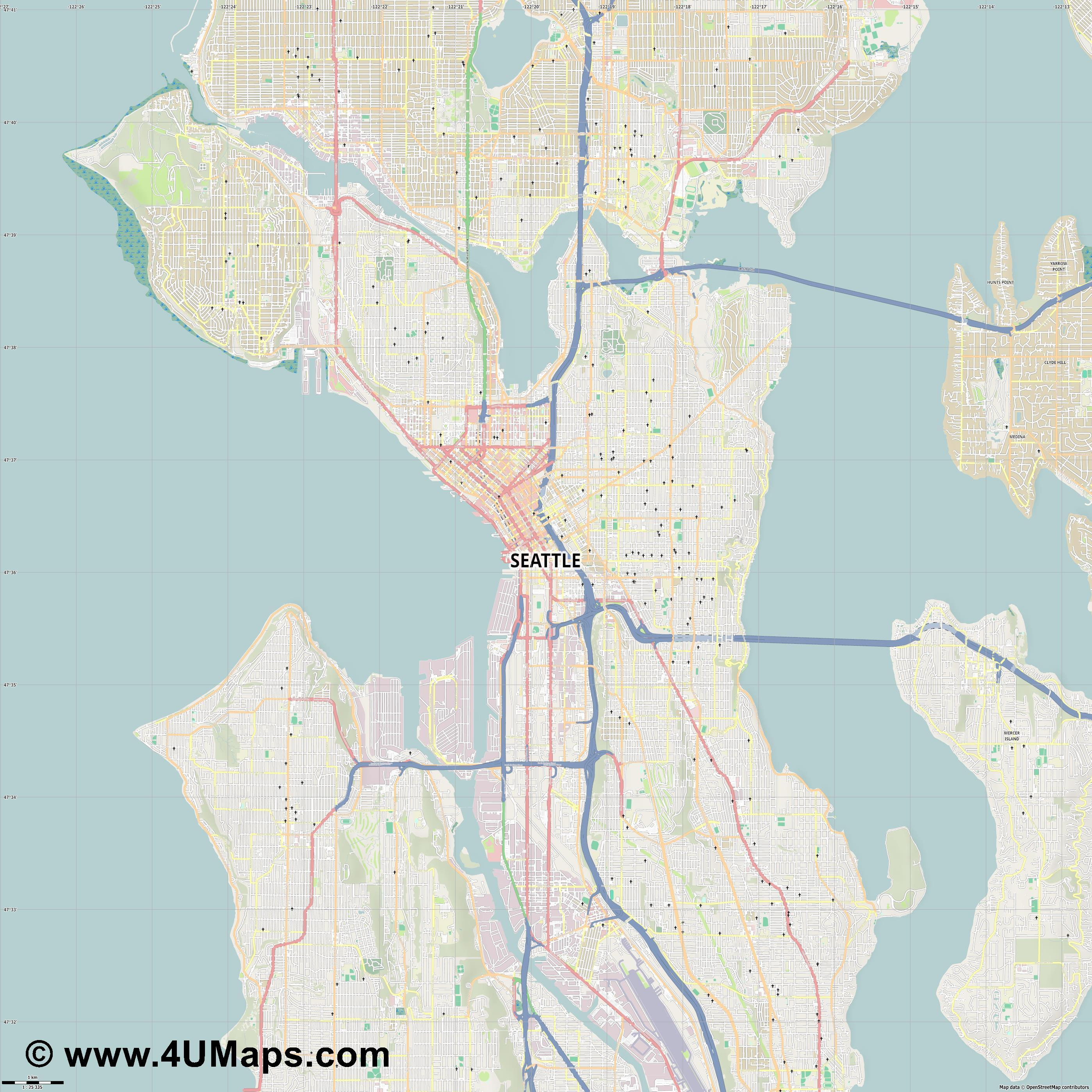 Seattle  jpg high detail, large area preview vector city map