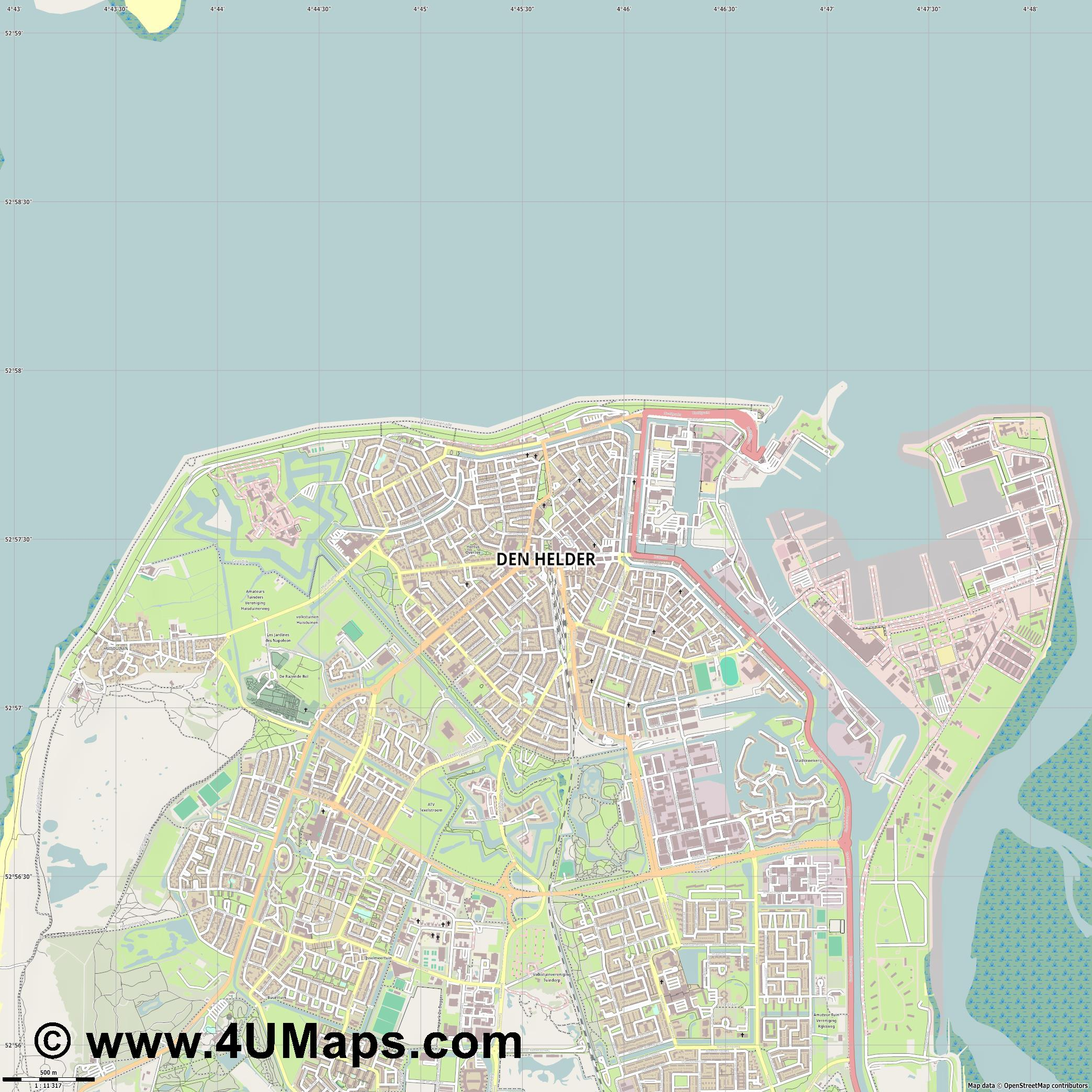 Den Helder  jpg ultra high detail preview vector city map
