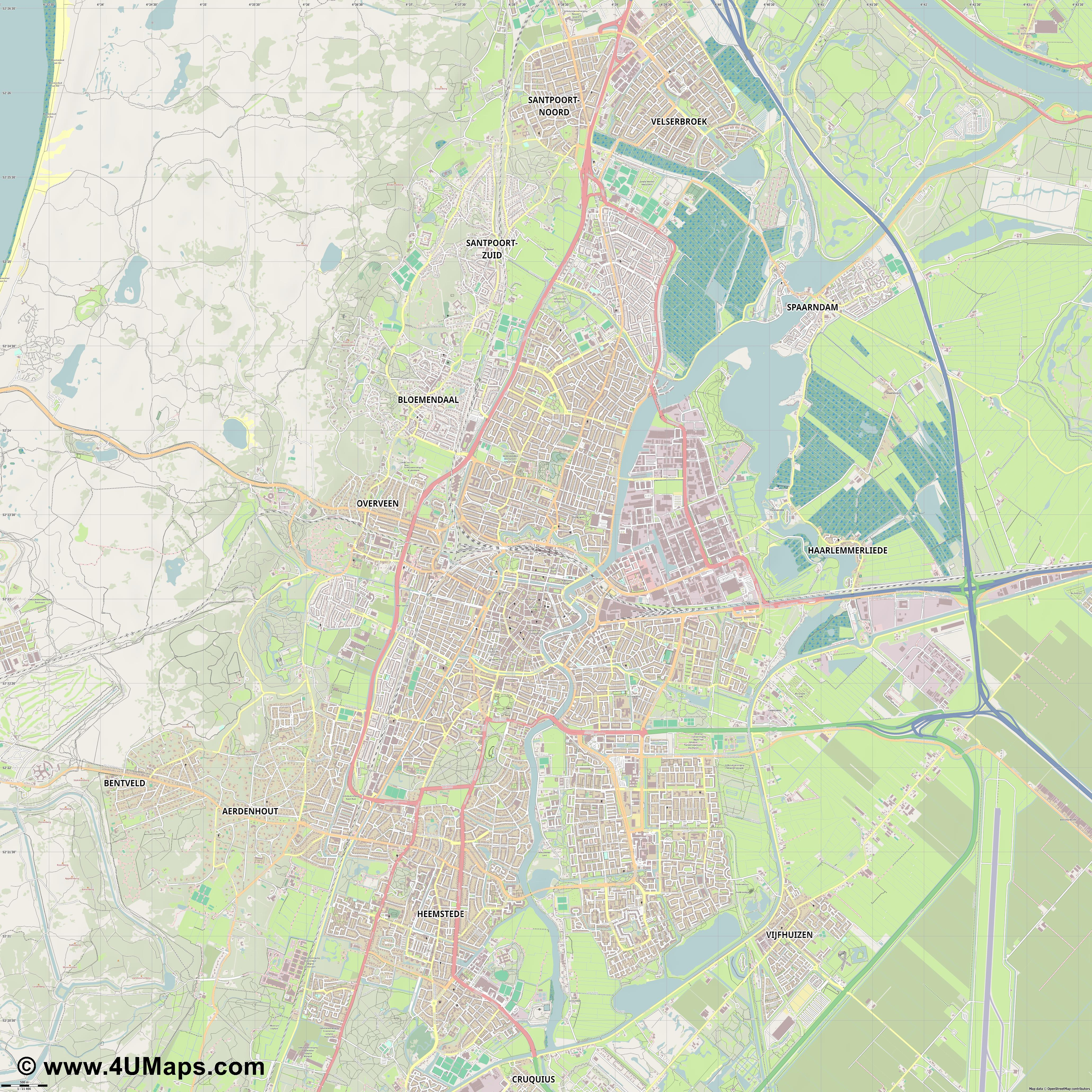 PDF, Svg Scalable Vector City Map Haarlem