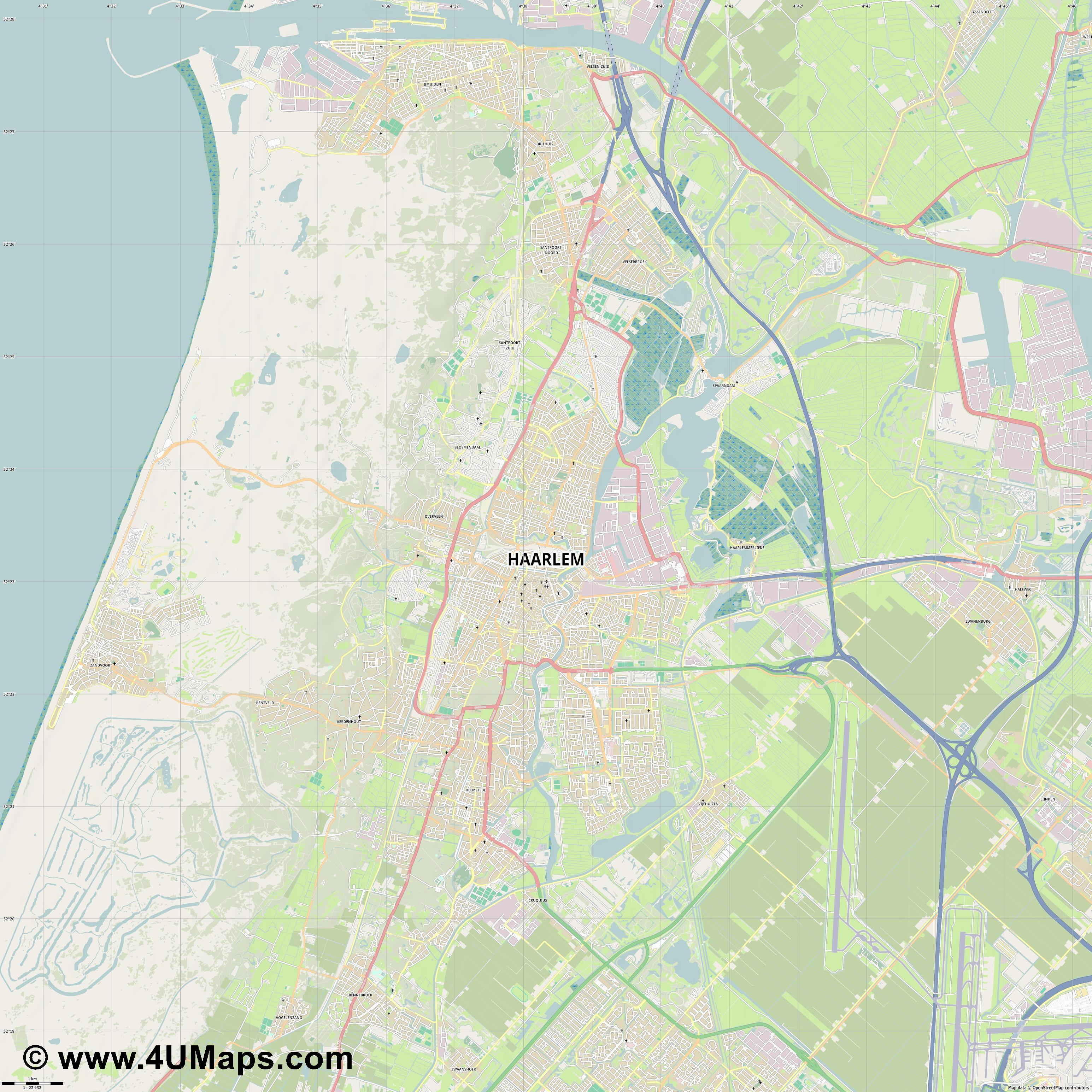 Haarlem  jpg high detail, large area preview vector city map