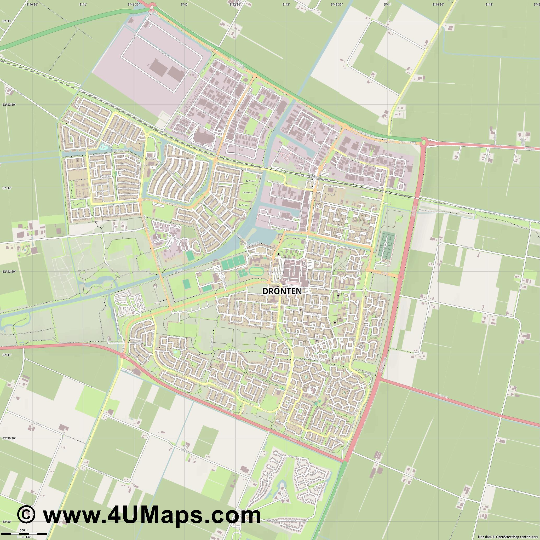 Dronten  jpg ultra high detail preview vector city map