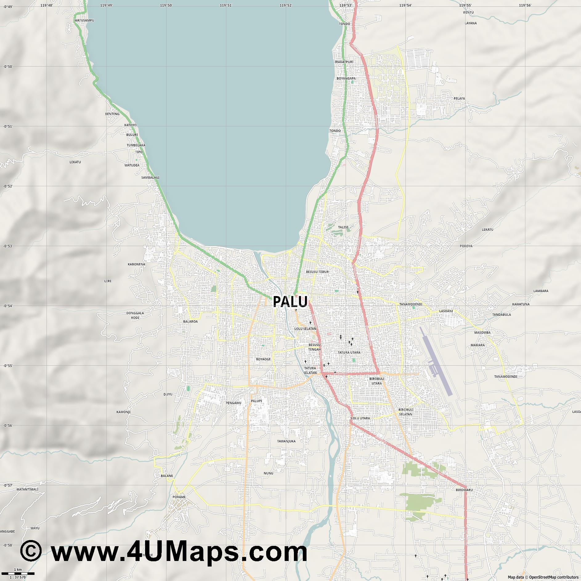 Palu  jpg high detail, large area preview vector city map
