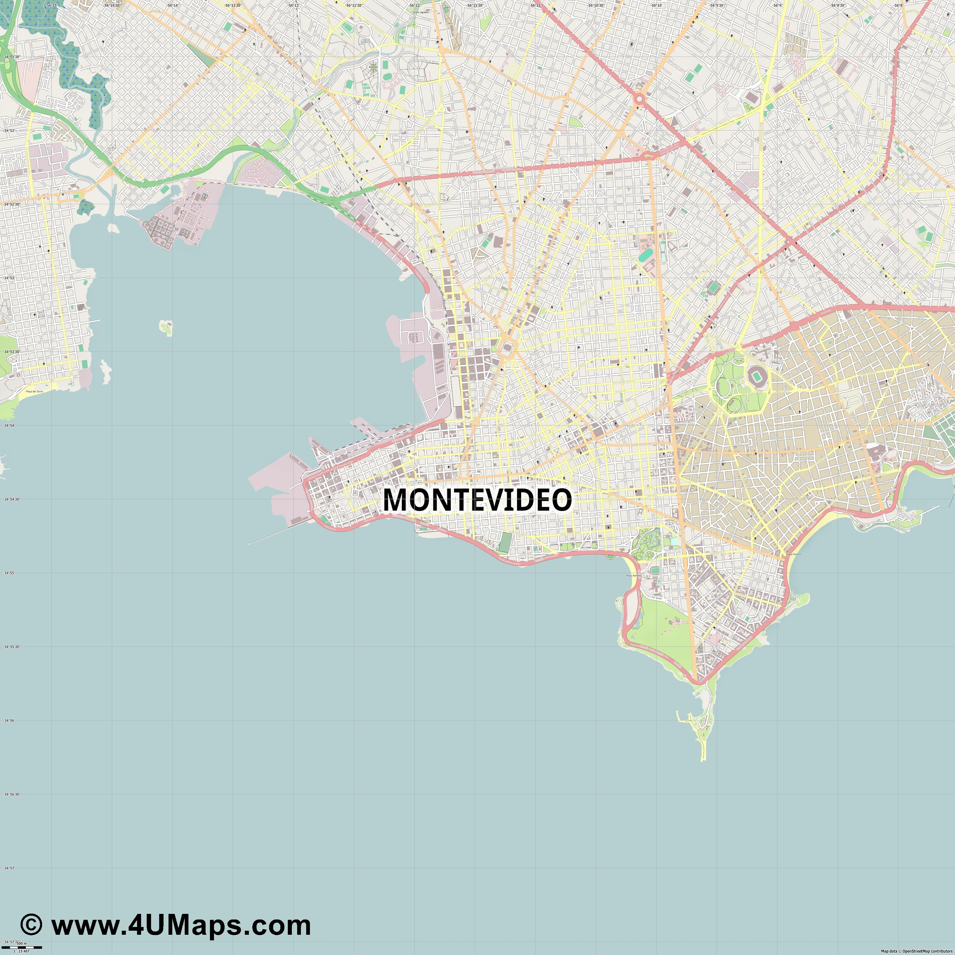 Montevideo  jpg ultra high detail preview vector city map