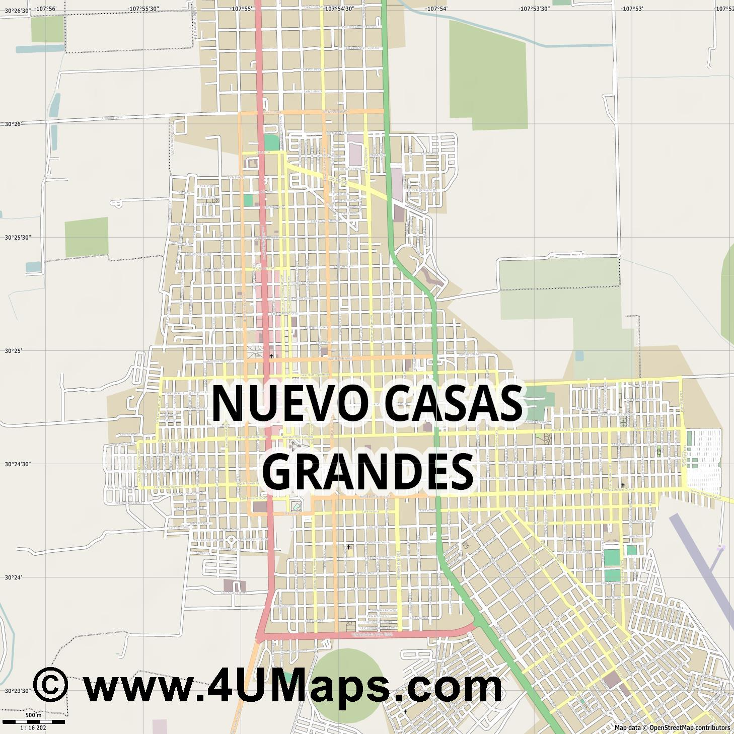 Nuevo Casas Grandes  jpg ultra high detail preview vector city map