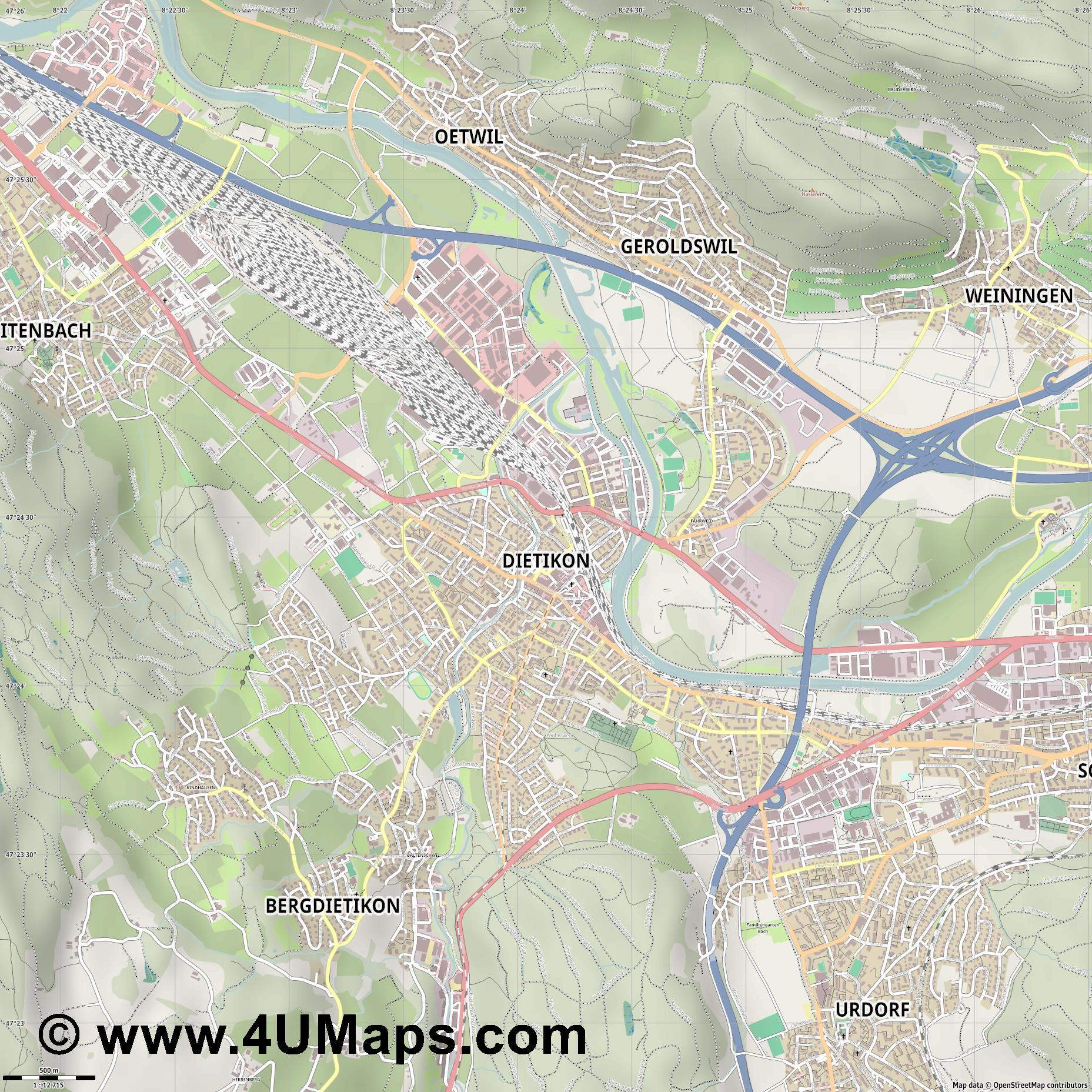 Dietikon  jpg ultra high detail preview vector city map