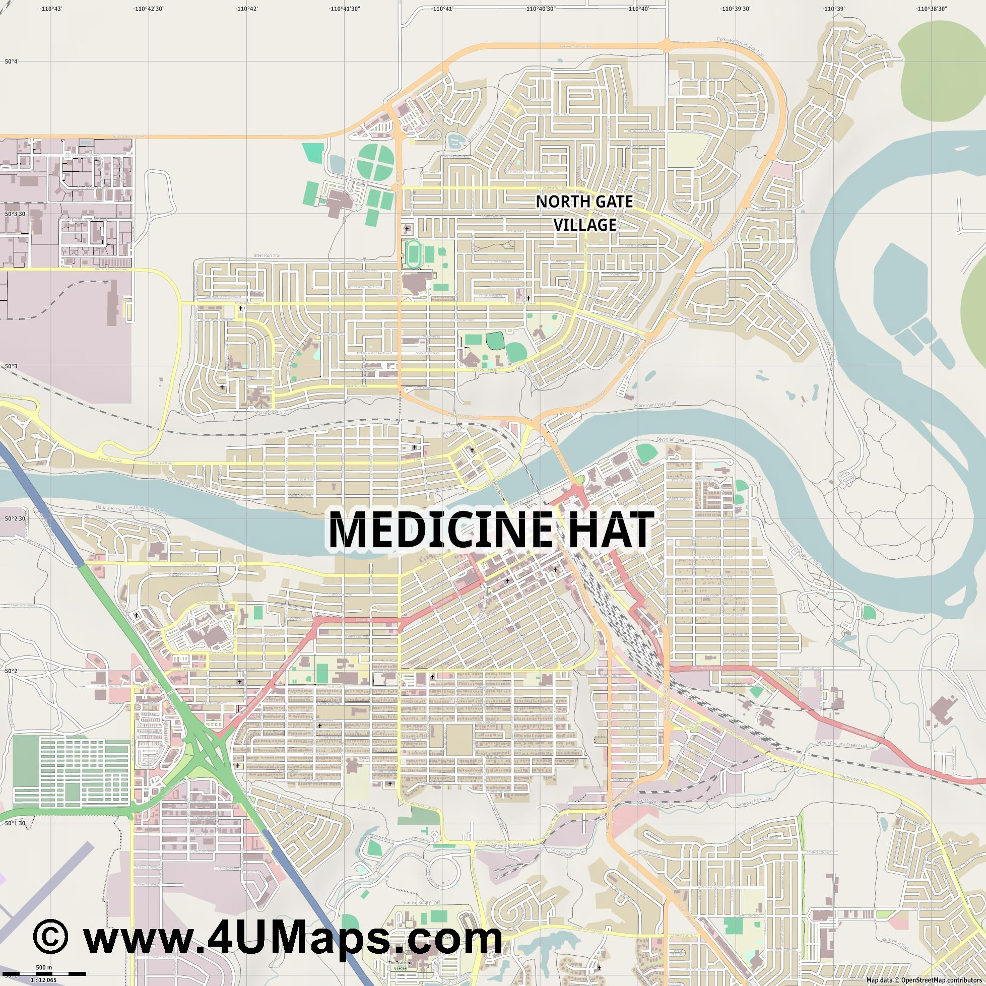 Medicine Hat  jpg ultra high detail preview vector city map