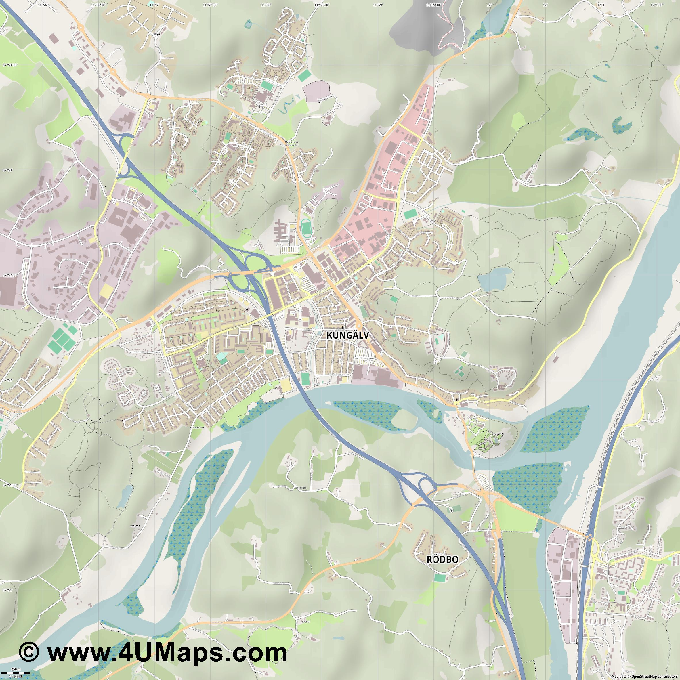 Kungälv  jpg ultra high detail preview vector city map