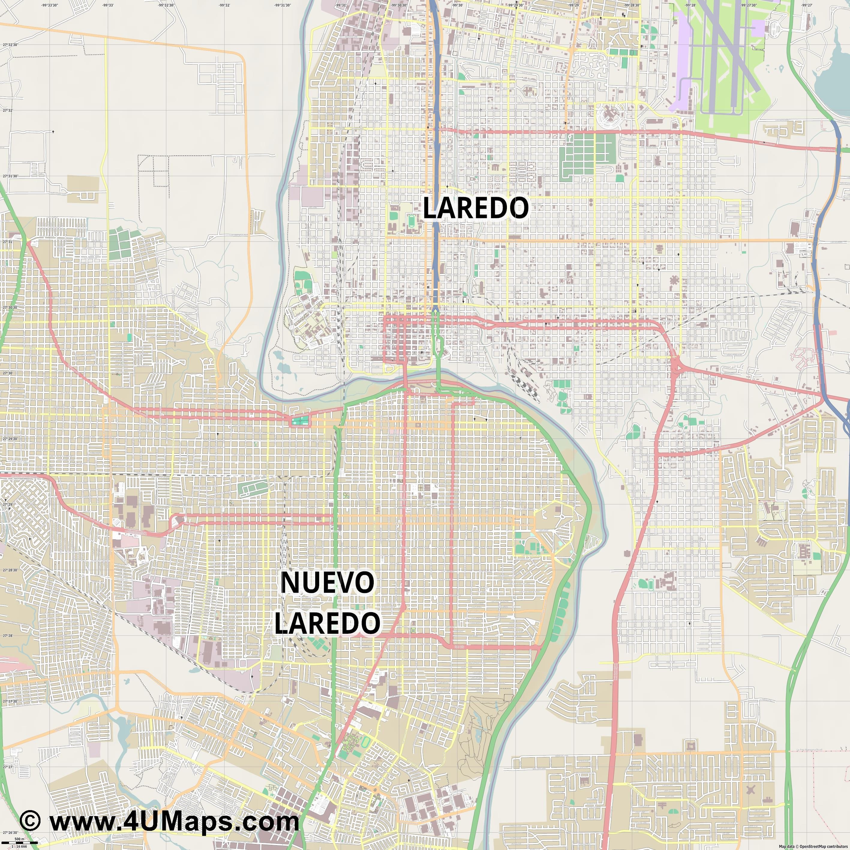 Nuevo Laredo  jpg ultra high detail preview vector city map