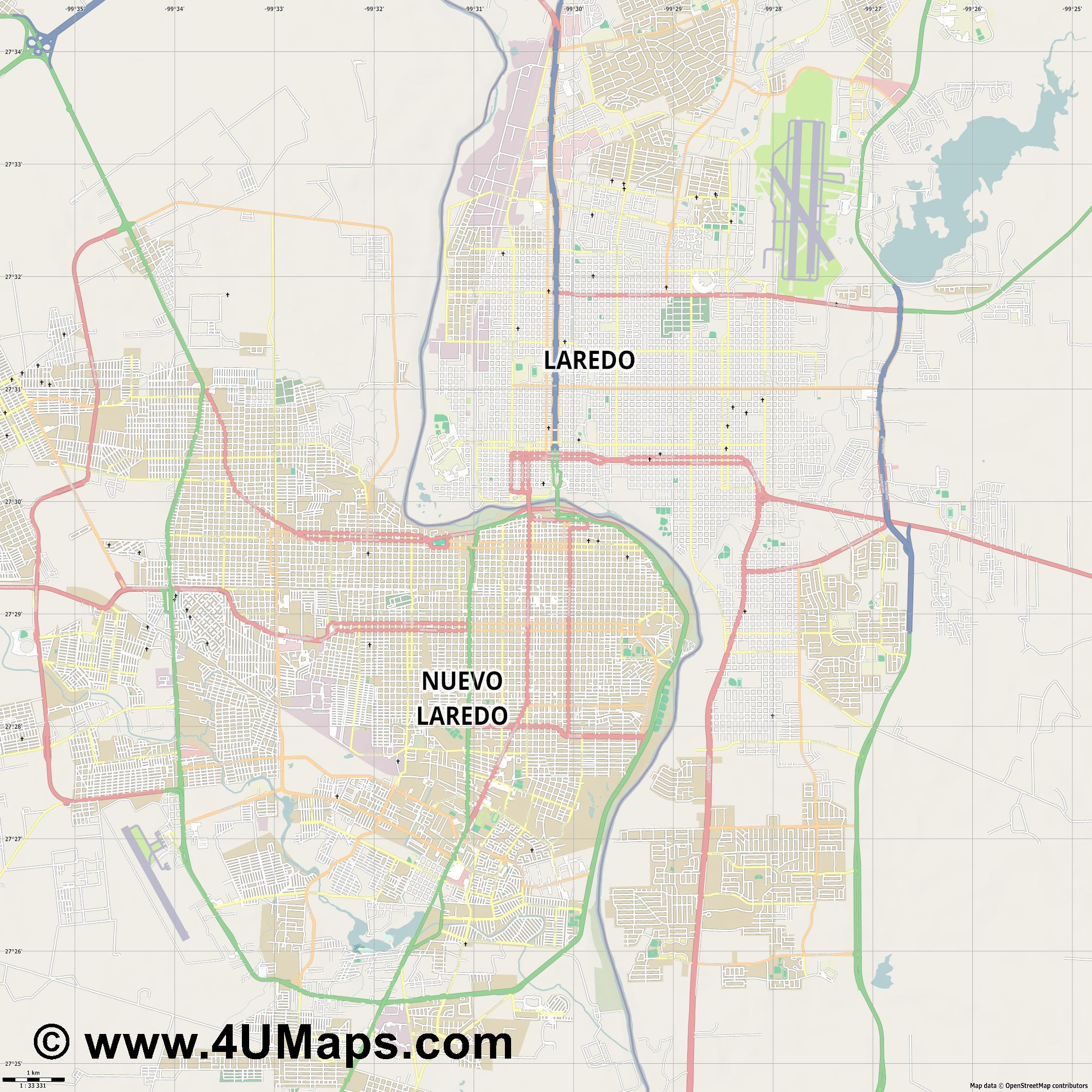 Nuevo Laredo  jpg high detail, large area preview vector city map