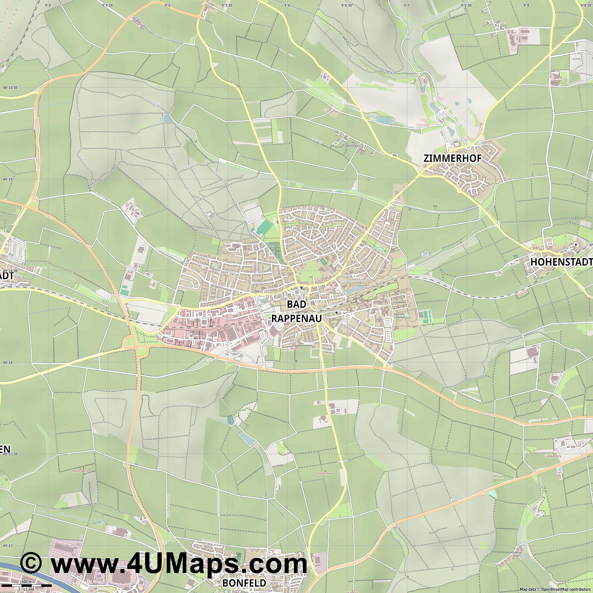 Bad Rappenau  jpg ultra high detail preview vector city map
