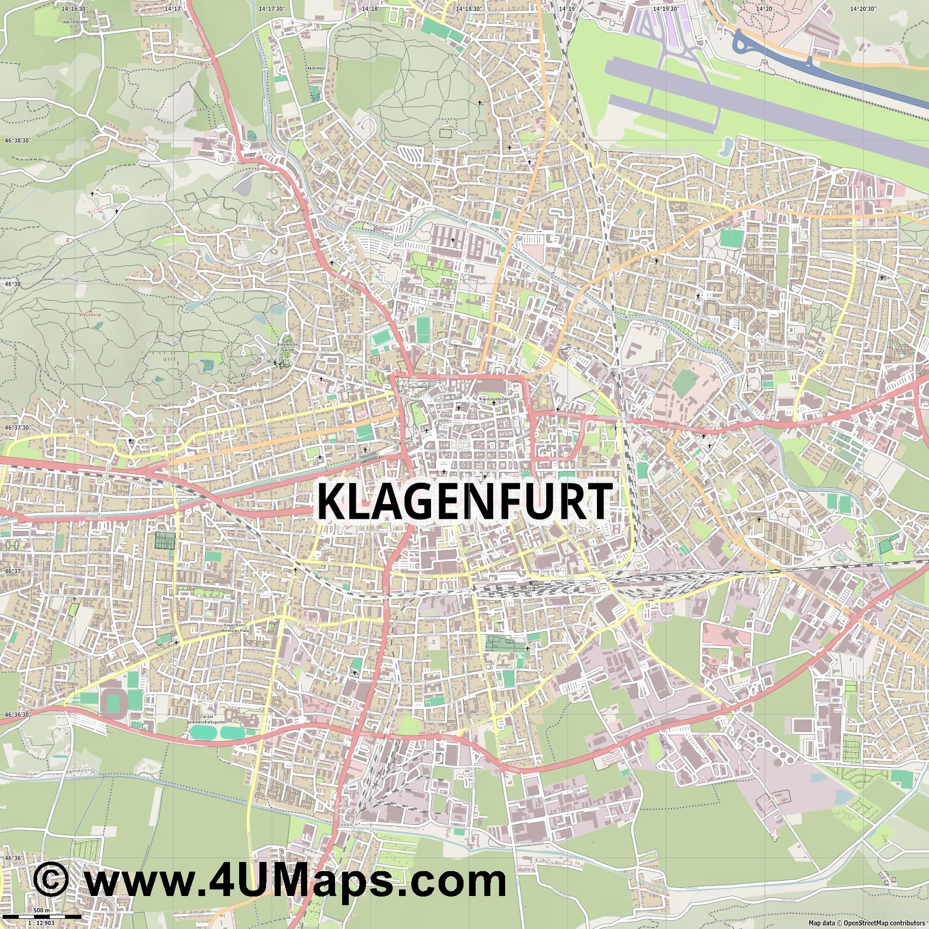 Klagenfurt  jpg ultra high detail preview vector city map