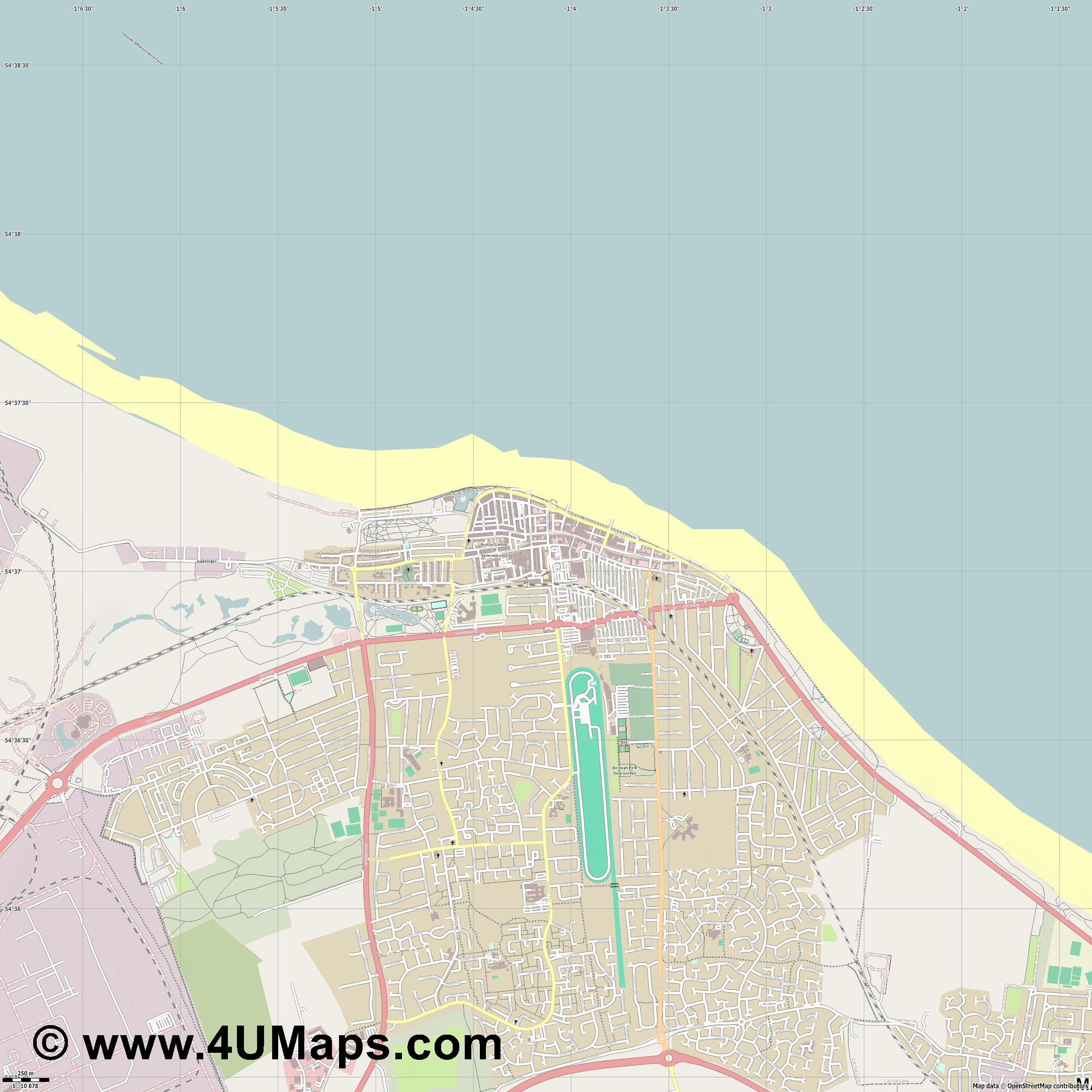 Redcar  jpg ultra high detail preview vector city map