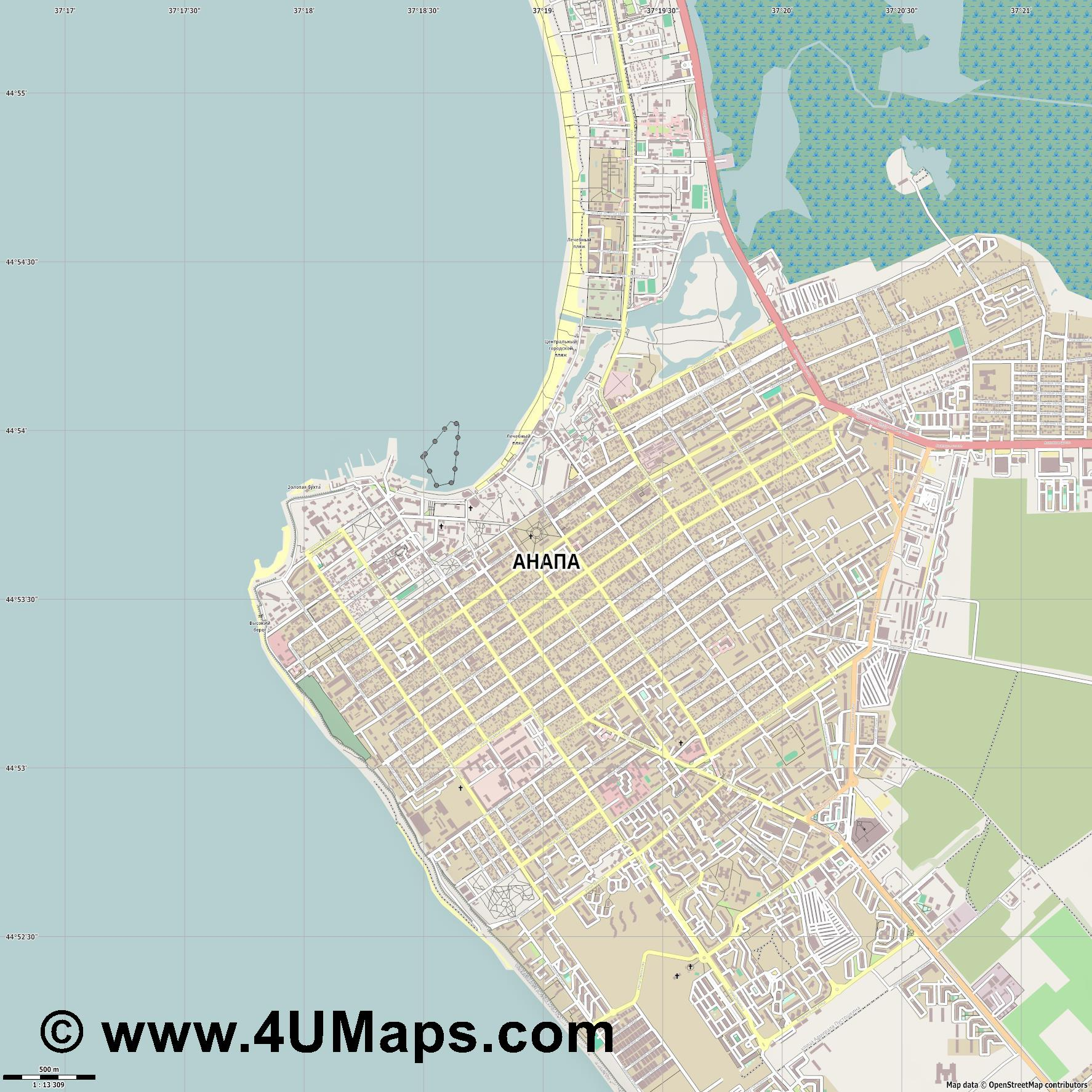 Анапа Anapa  jpg ultra high detail preview vector city map